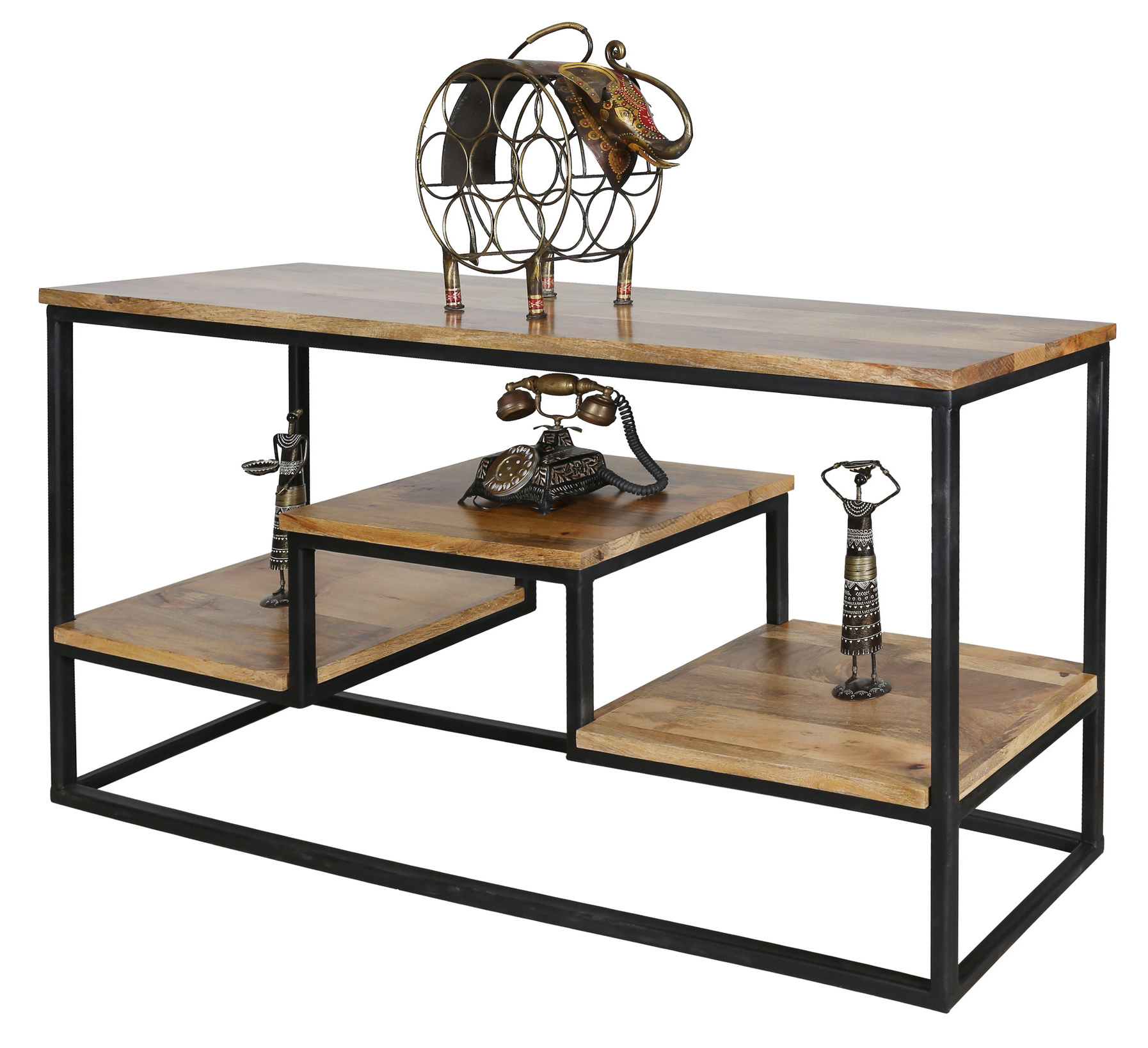 Most Recent Frame Console Tables For Large Industrial Style Light Mango Wood Console Table With Metal Frame (Gallery 5 of 20)