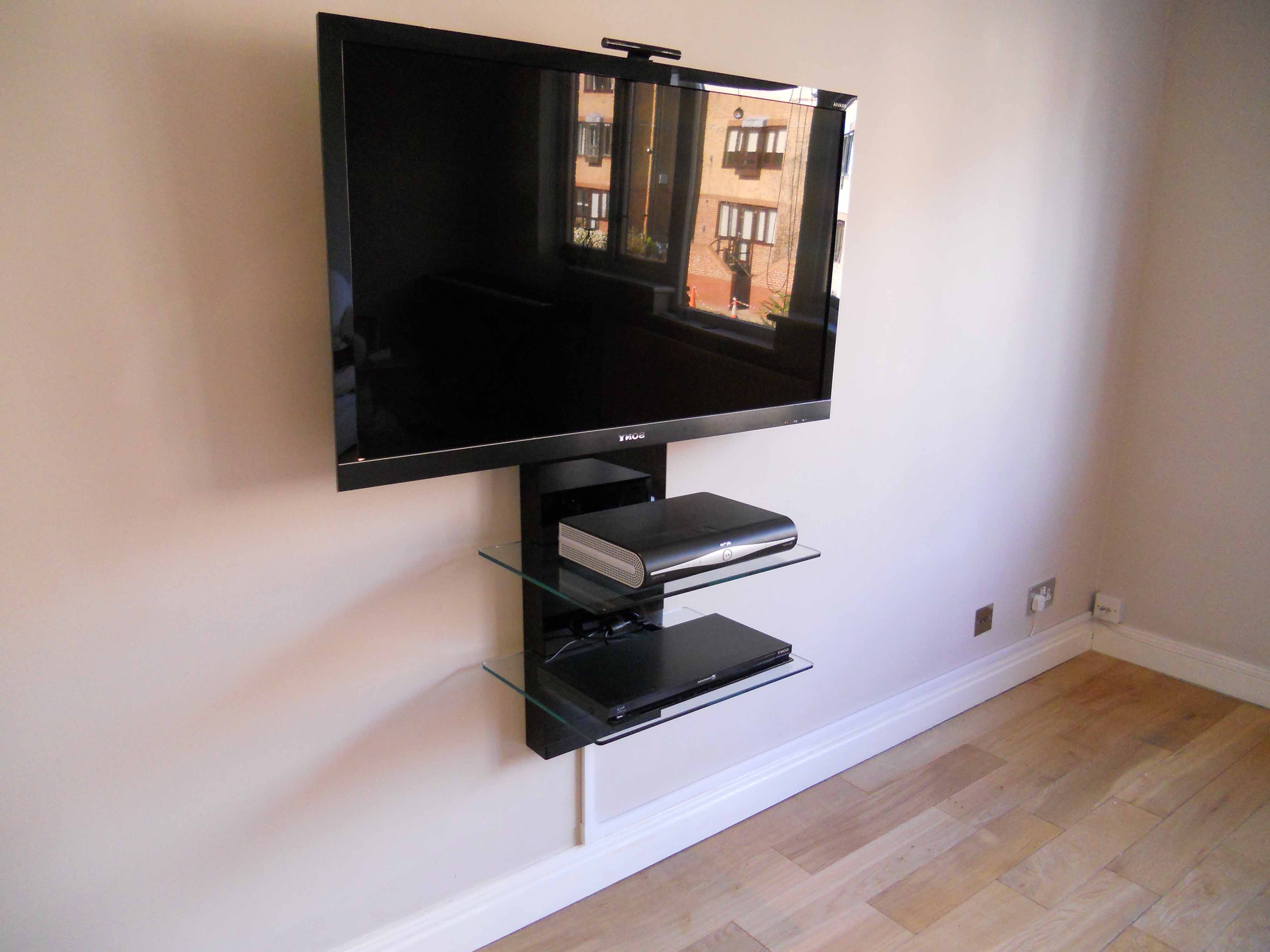 Most Recent Furniture Home With Black Metal Wall Mounted Tv Stand With Double For Wall Mounted Tv Stands With Shelves (View 20 of 20)