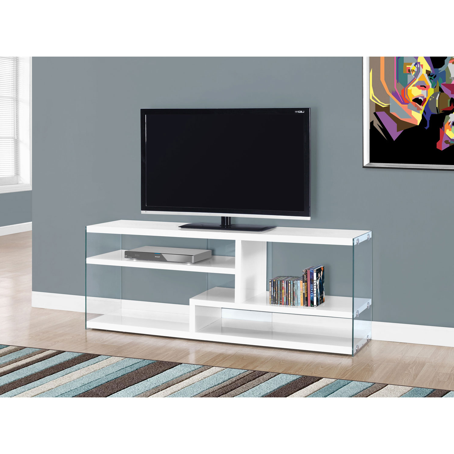 Most Recent Hawthorne Ave Tv Stand 60L / Glossy White With Tempered Glass I 2690 Within Noah 75 Inch Tv Stands (View 7 of 20)