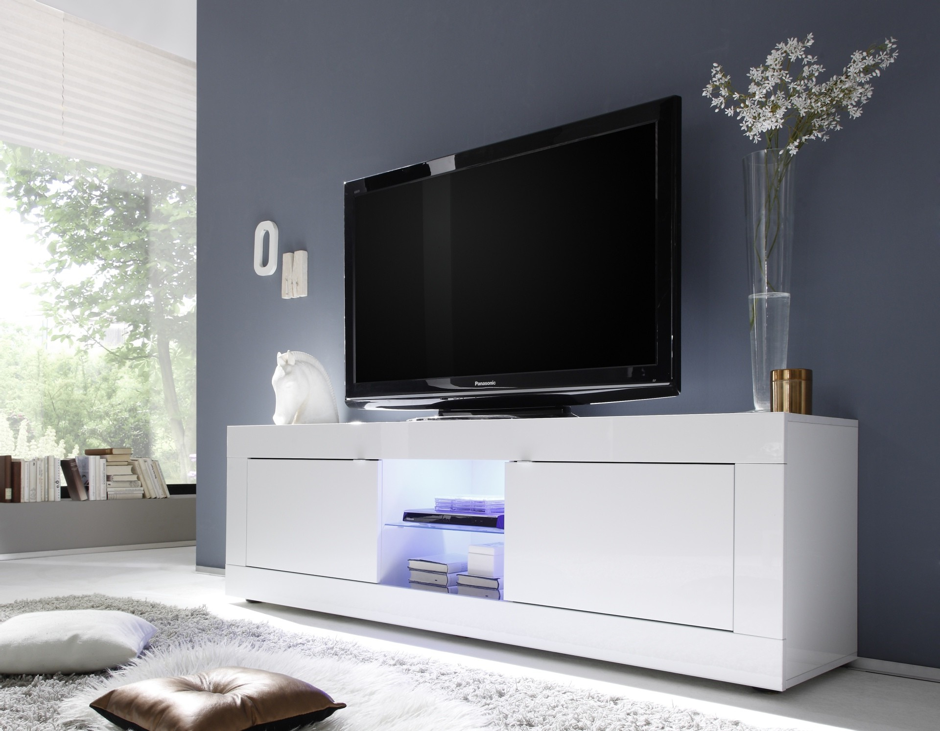 Most Recent Jasoni Italian White High Gloss Tv Unit 181Cm Intended For White High Gloss Tv Unit (View 3 of 20)