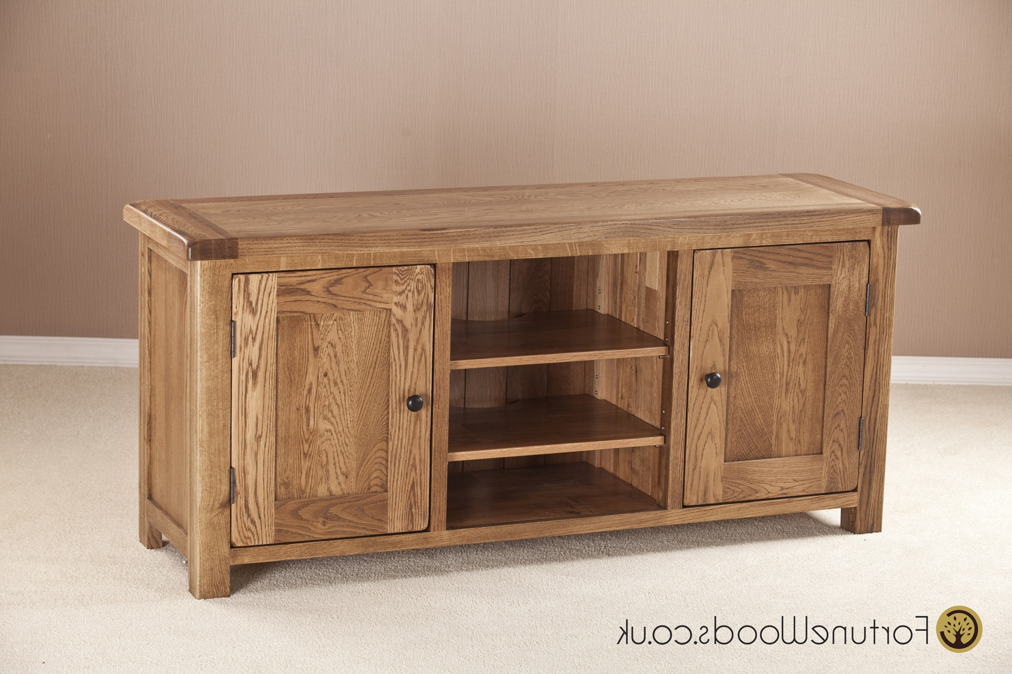Most Recent Oak Tv Cabinets With Doors Intended For Large Oak Tv Unit With Wooden Doors (View 6 of 20)