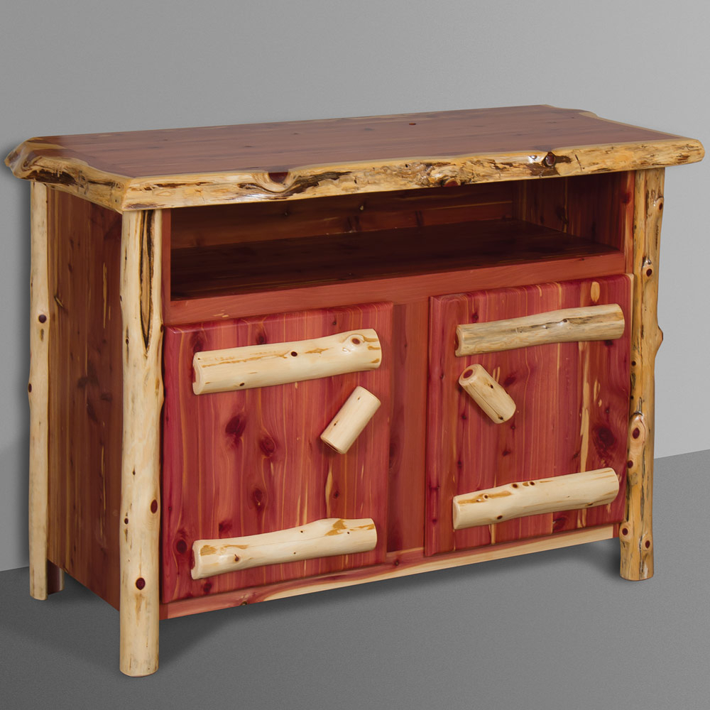 Most Recent Rustic Red Tv Stands Throughout Red Cedar Amish Tv Stand – Rustic Amish Log Furniture (View 4 of 20)