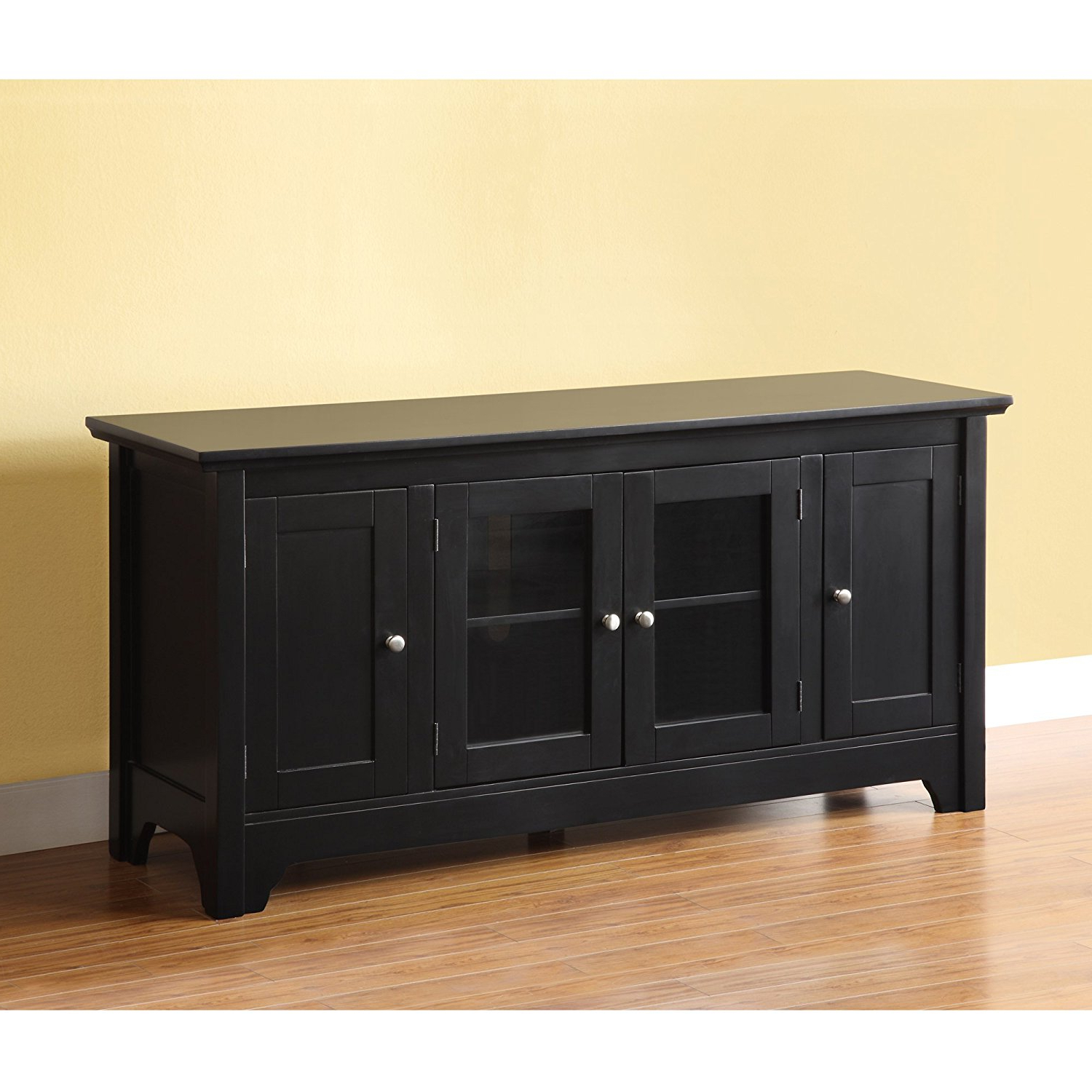 Most Recent Solid Wood Black Tv Stands With Regard To Dark Wood Tv Stand Amazon: Walker Edison 53 – Furnish Ideas (View 2 of 20)
