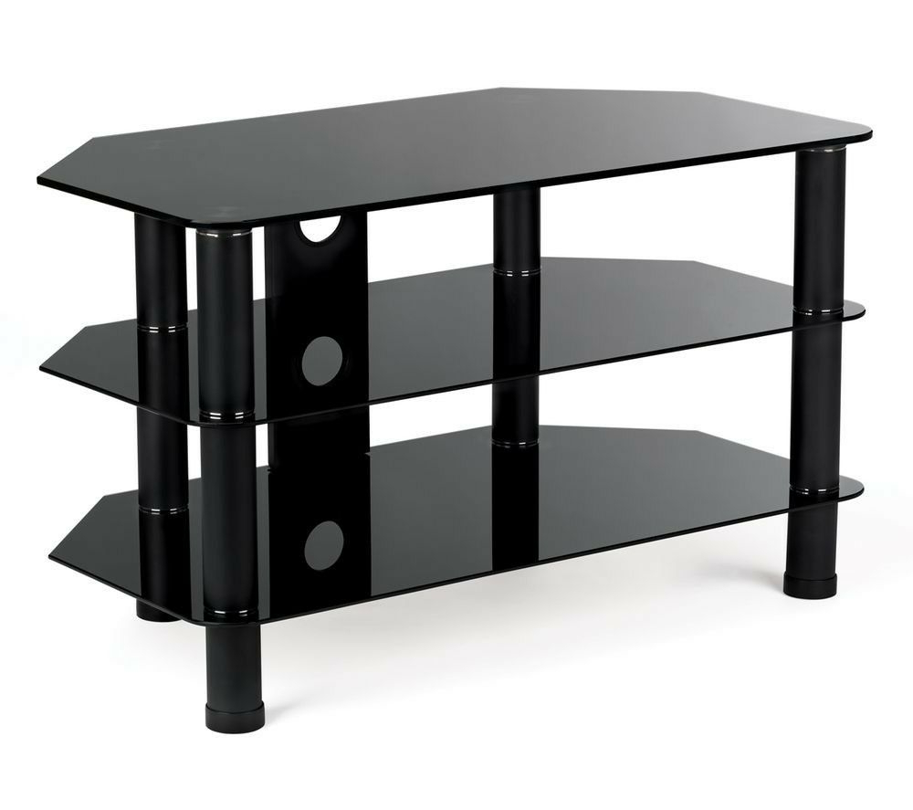 Most Recent Stylish Black Serano S800Bg11 Tv Stand (Gallery 20 of 20)