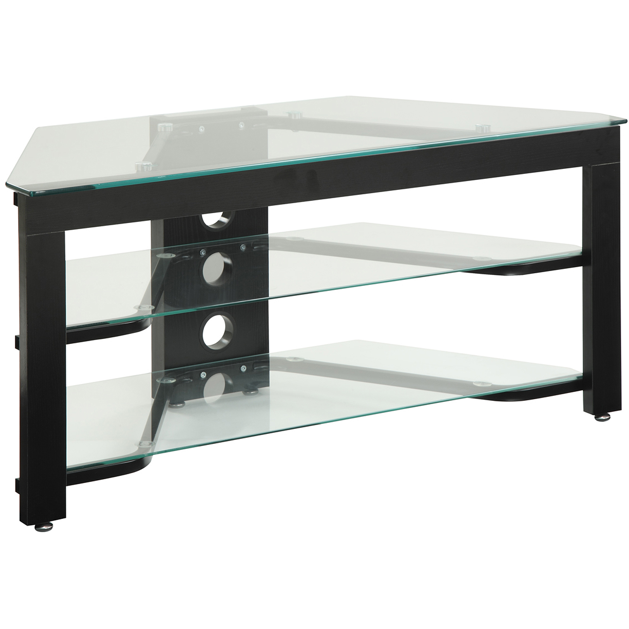 Most Recent Swivel Black Glass Tv Stands Intended For Led Tv Glass Stand 3 Shelf Console Tempered Tier Swivel For 55 Inch (Gallery 4 of 20)
