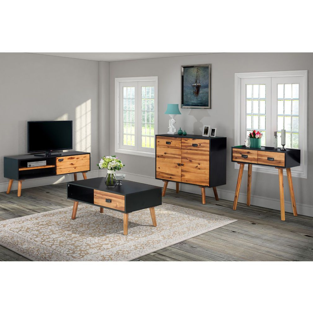 Most Recent Tv Cabinets And Coffee Table Sets In Vidaxl Solid Acacia Wood Console Side End Coffee Table Tv Cabinet (View 5 of 20)
