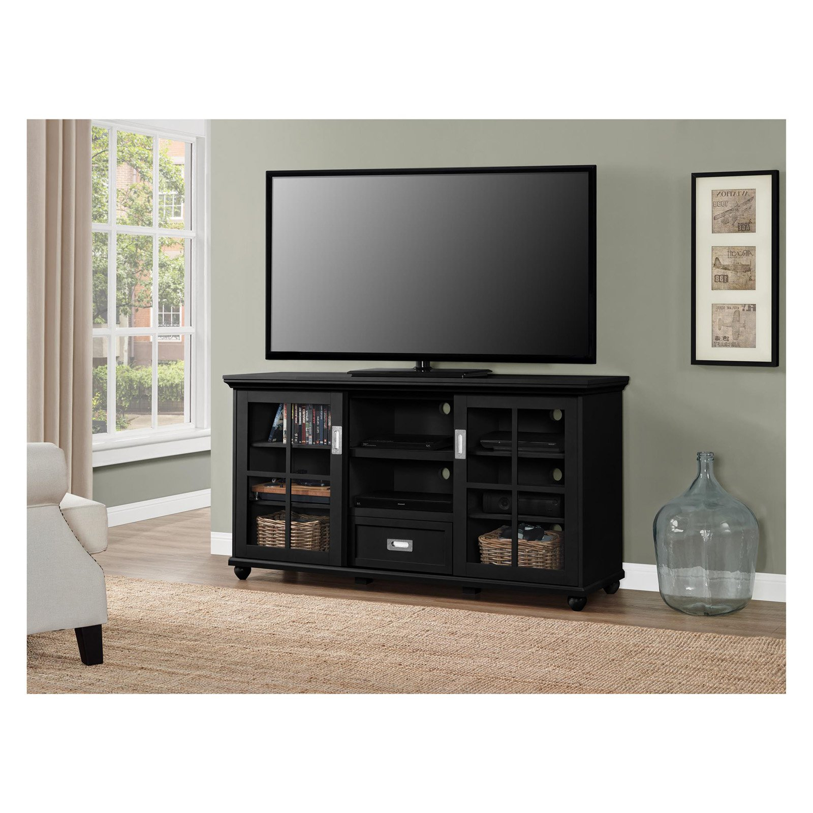 "Most Recent Tv Stands For 55 Inch Tv Within Ameriwood Home Aaron Lane 55"" Tv Stand, Gray – Walmart (View 8 of 20)"