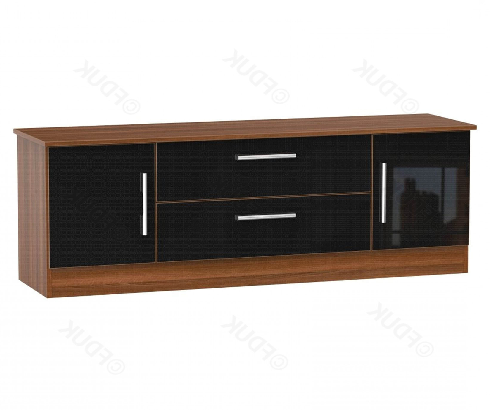 Most Recent Welcome Furniture Living Black Gloss And Noche Walnut 2 Door 2 Inside Walnut And Black Gloss Tv Units (View 19 of 20)