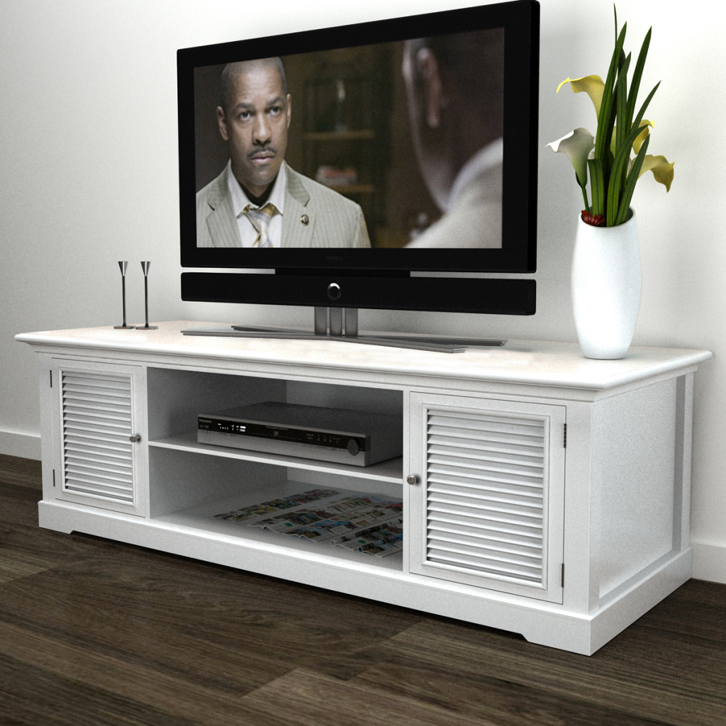 Most Recent White White Wooden Tv Stand – Lovdock For Long White Tv Cabinets (View 13 of 20)