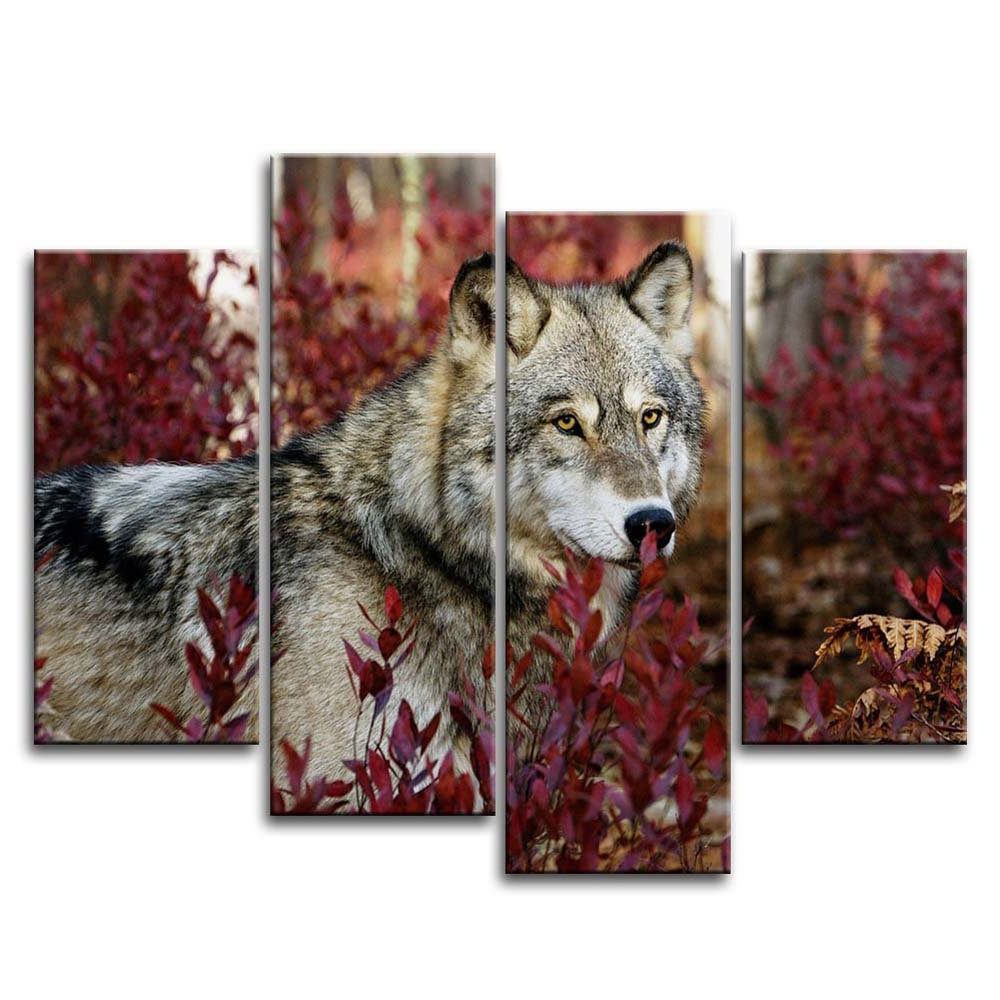 Most Recently Released Amazon: 4 Piece Wall Art Painting Wolf In The Forest Pictures Pertaining To Walton Grey 60 Inch Tv Stands (View 10 of 20)