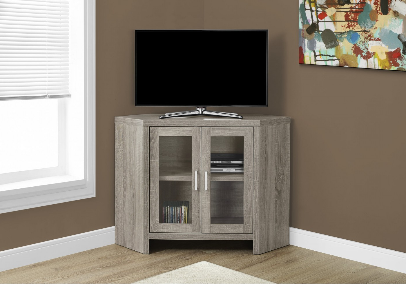 "Most Recently Released Black Corner Tv Cabinets With Glass Doors Pertaining To Tv Stand – 42""l / Dark Taupe Corner With Glass Doors (View 9 of 20)"
