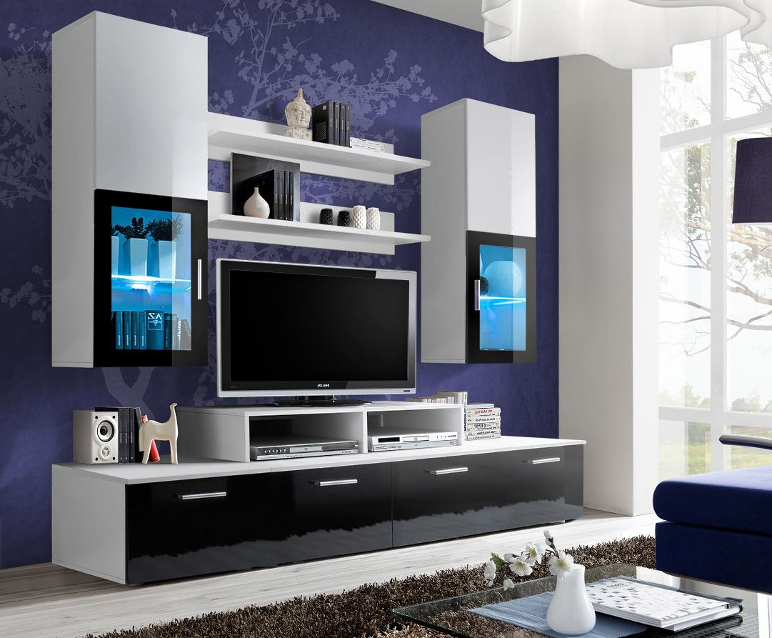 Most Recently Released Black Gloss Tv Wall Units With Toledo 2 Black And White High Gloss Wall Unit Entertainment Center (View 14 of 20)