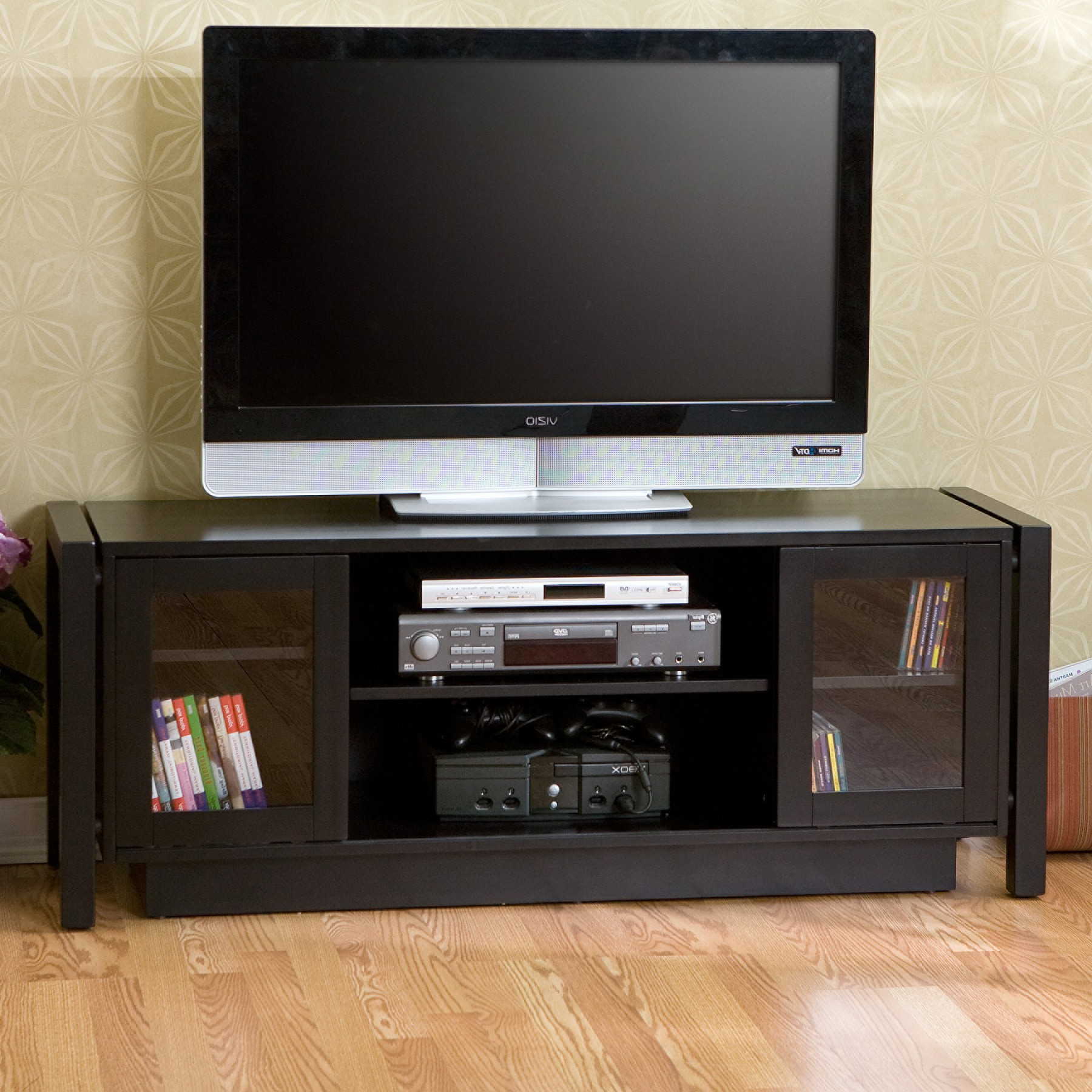 Most Recently Released Black Laminated Wodoen Tv Stand With Storage Cabinet And Double Regarding Black Tv Stand With Glass Doors (View 8 of 20)