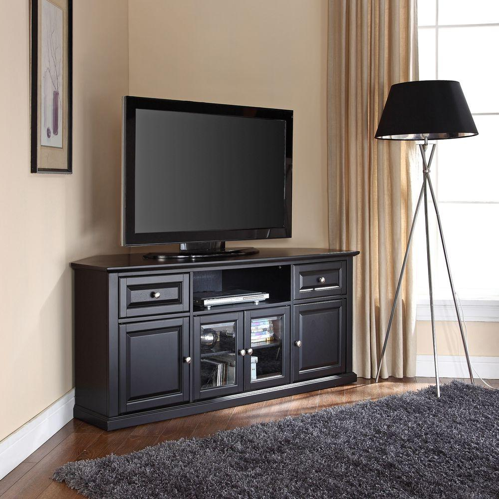 Most Recently Released Black Wood Corner Tv Stands Intended For Crosley Black Entertainment Center Cf1000260 Bk – The Home Depot (View 20 of 20)