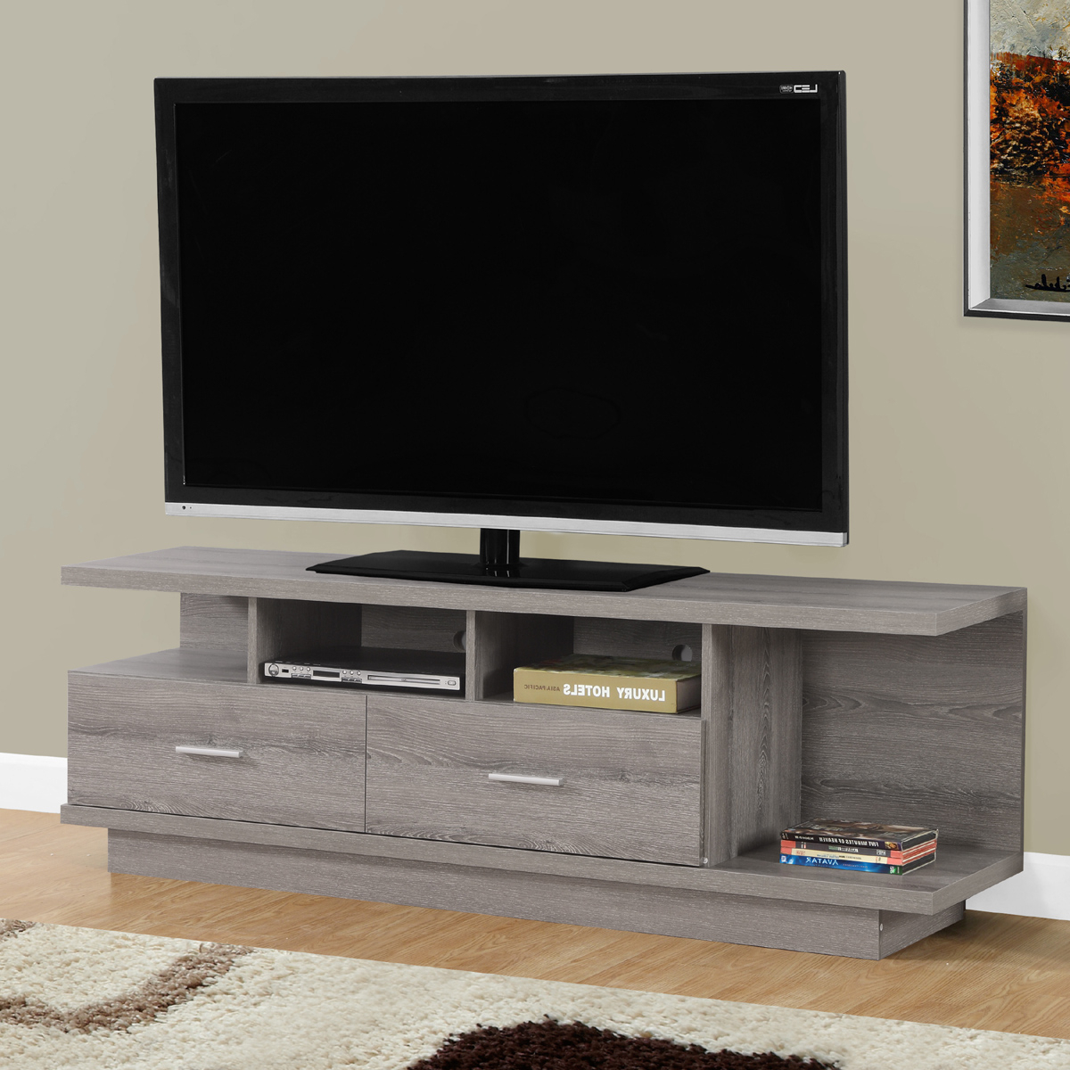 Most Recently Released Contemporary Tv Stands For Flat Screens In Felix Contemporary Tv Stand In Dark Taupe (View 12 of 20)