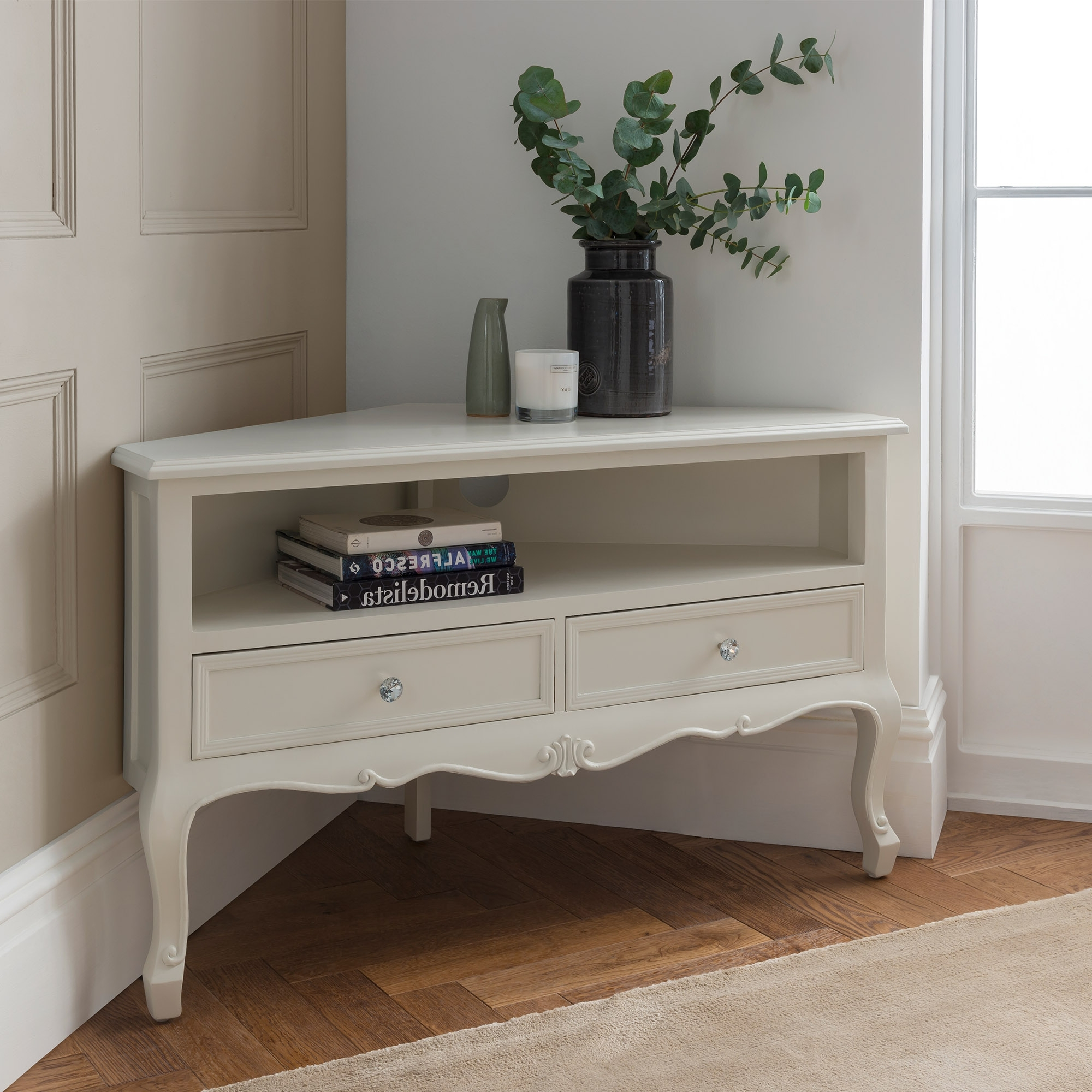 Most Recently Released Cream Corner Tv Stands Within Antique Corner Tv Stand Or White Stands With Cream Plus Together (View 13 of 20)