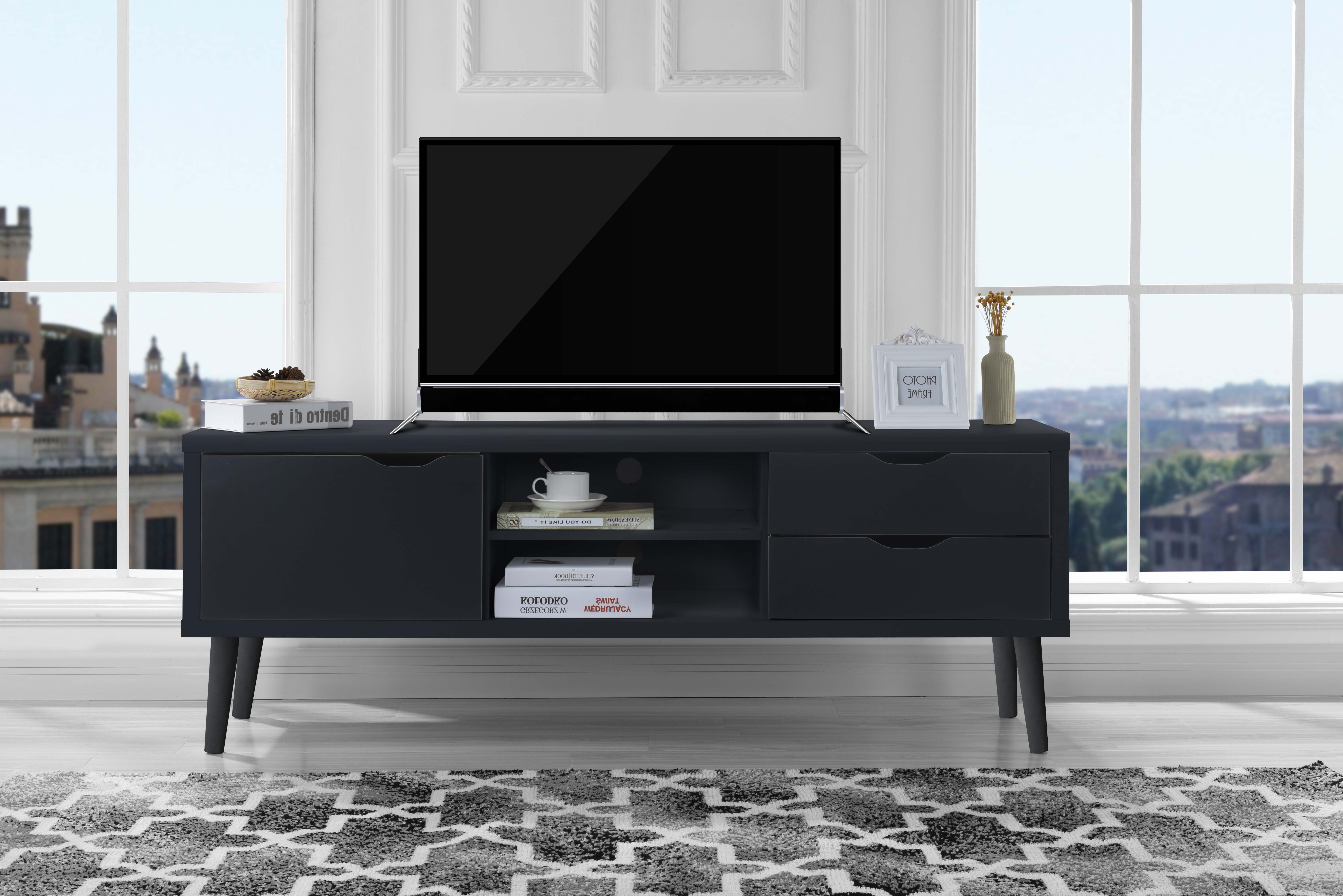 Most Recently Released Dark Tv Stands With Mid Century Modern Style Tv Stand Living Room Tv Entertainment (View 14 of 20)