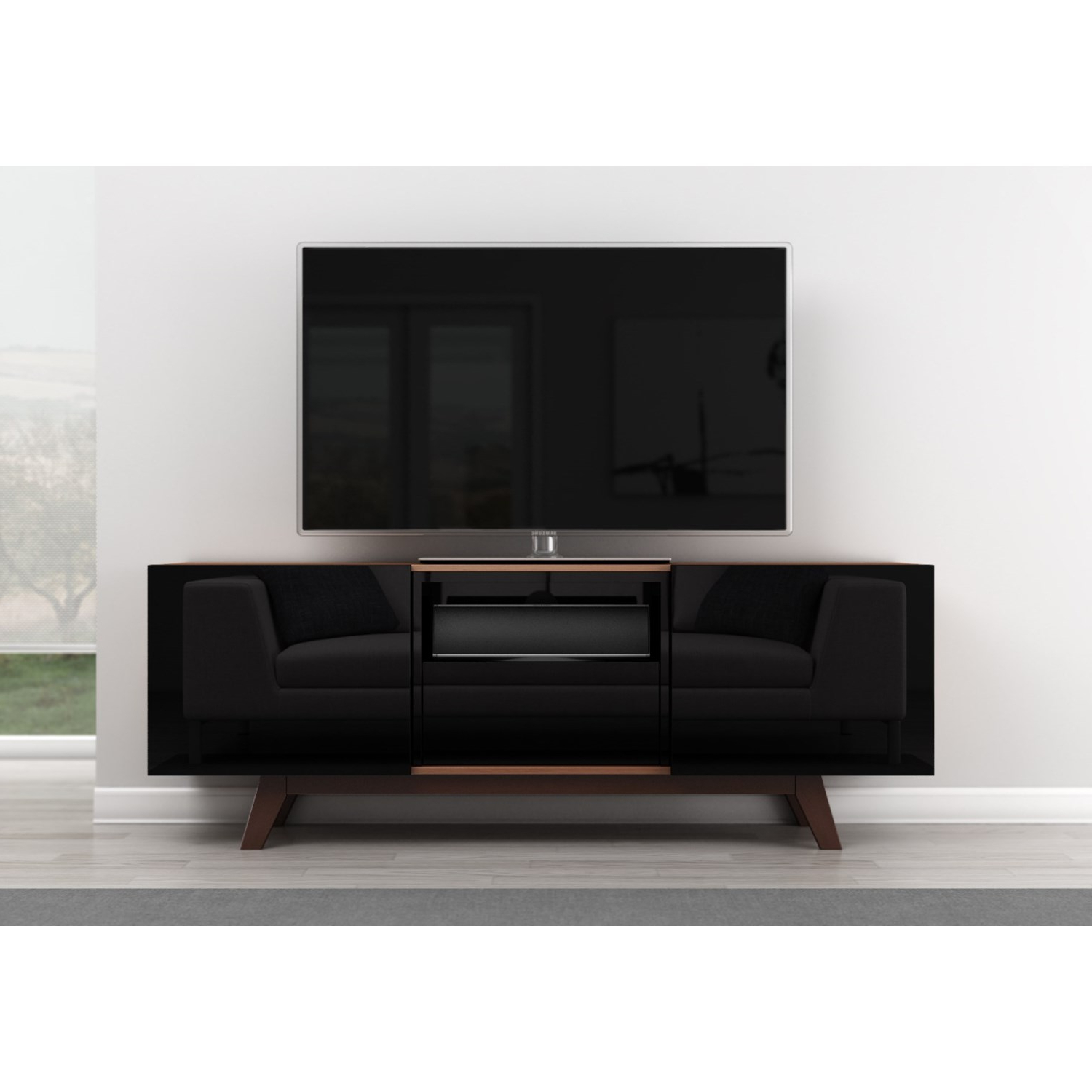 "Most Recently Released Furnitech 70"" Modern High Gloss Black Tv Stand – Ft70rbl (View 14 of 20)"