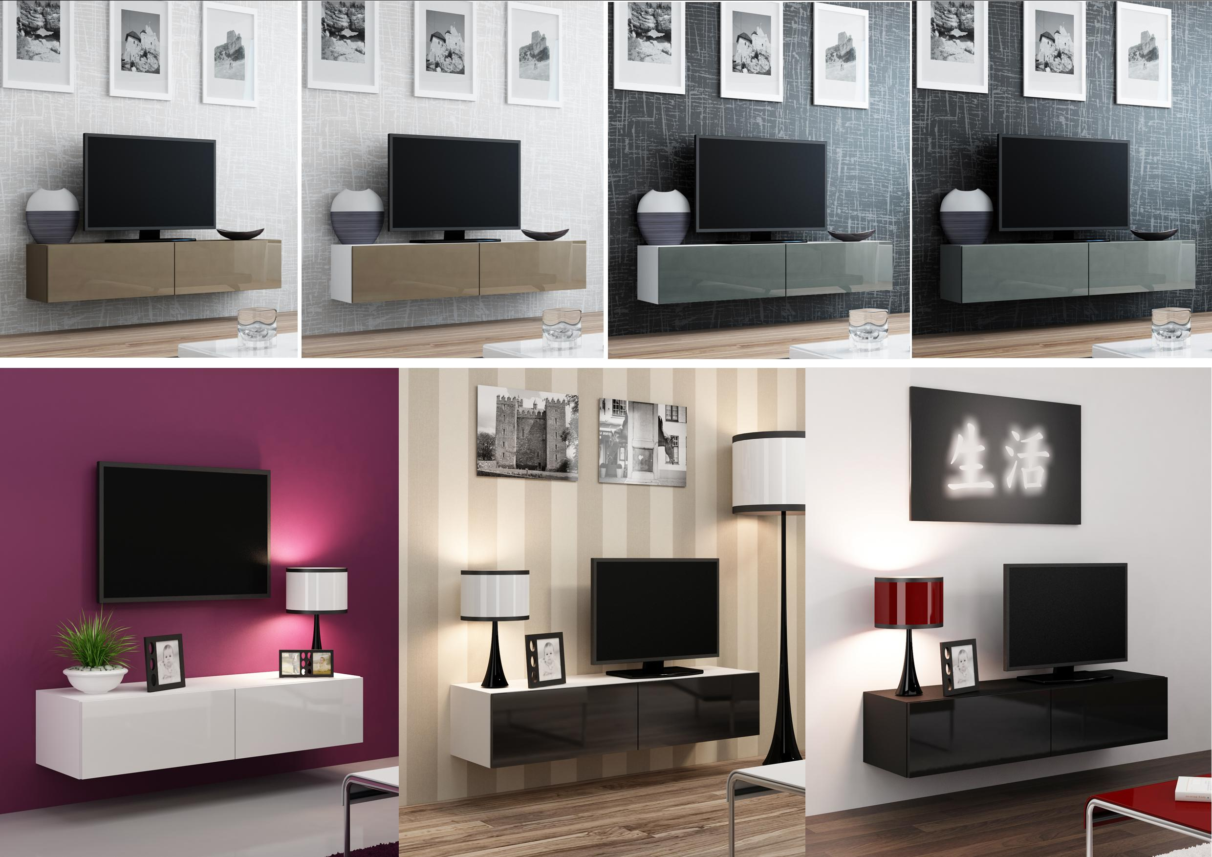 Most Recently Released Gloss Tv Stands Inside High Gloss Tv Stand Cabinet Wall Mountable (View 7 of 20)