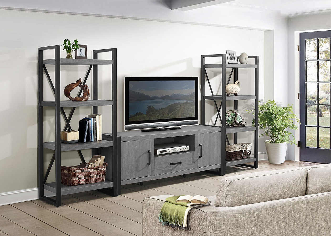 Most Recently Released Kai 63 Inch Tv Stands Within Dogue Entertainment Wall W/ 4 Shelf Bookcases And 63 Inch Tv Stand (Gallery 16 of 20)