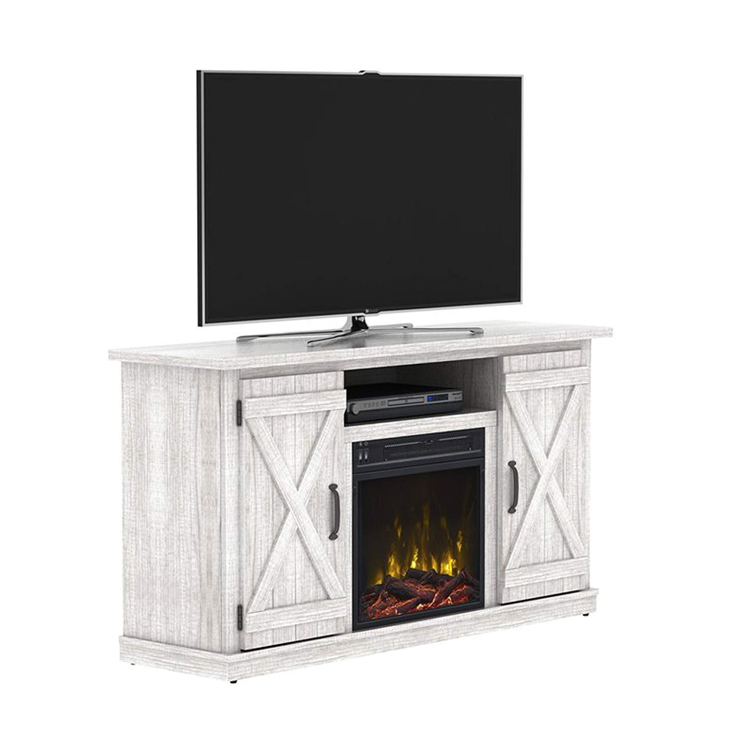 Most Recently Released Kilian Grey 60 Inch Tv Stands For Amazon: Industrial Tv Stand With Fireplace – Antique Rustic Look (View 16 of 20)