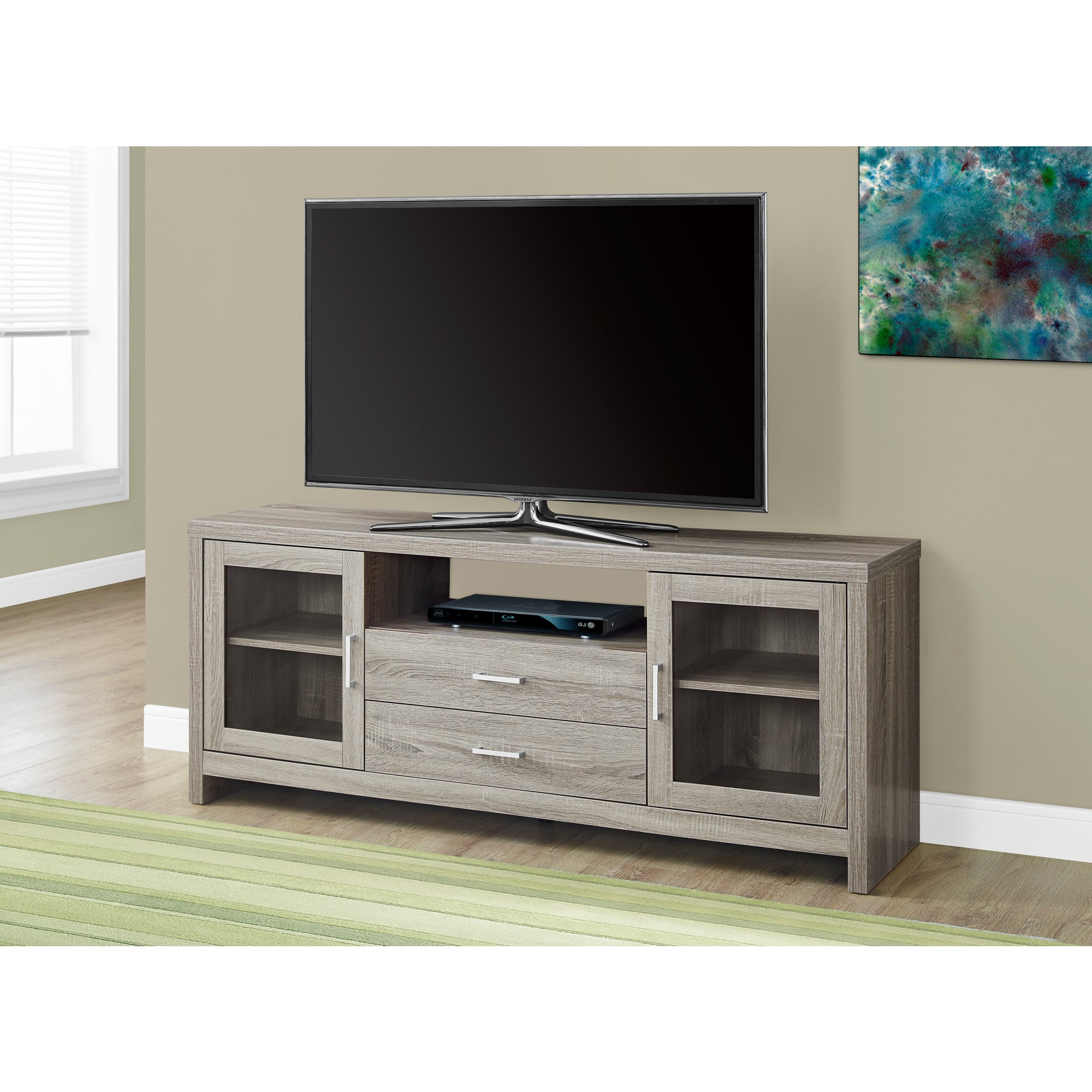 Most Recently Released Long Tv Stands Intended For Shop Dark Taupe 60 Inches Long Storage Tv Stand – Free Shipping (View 20 of 20)