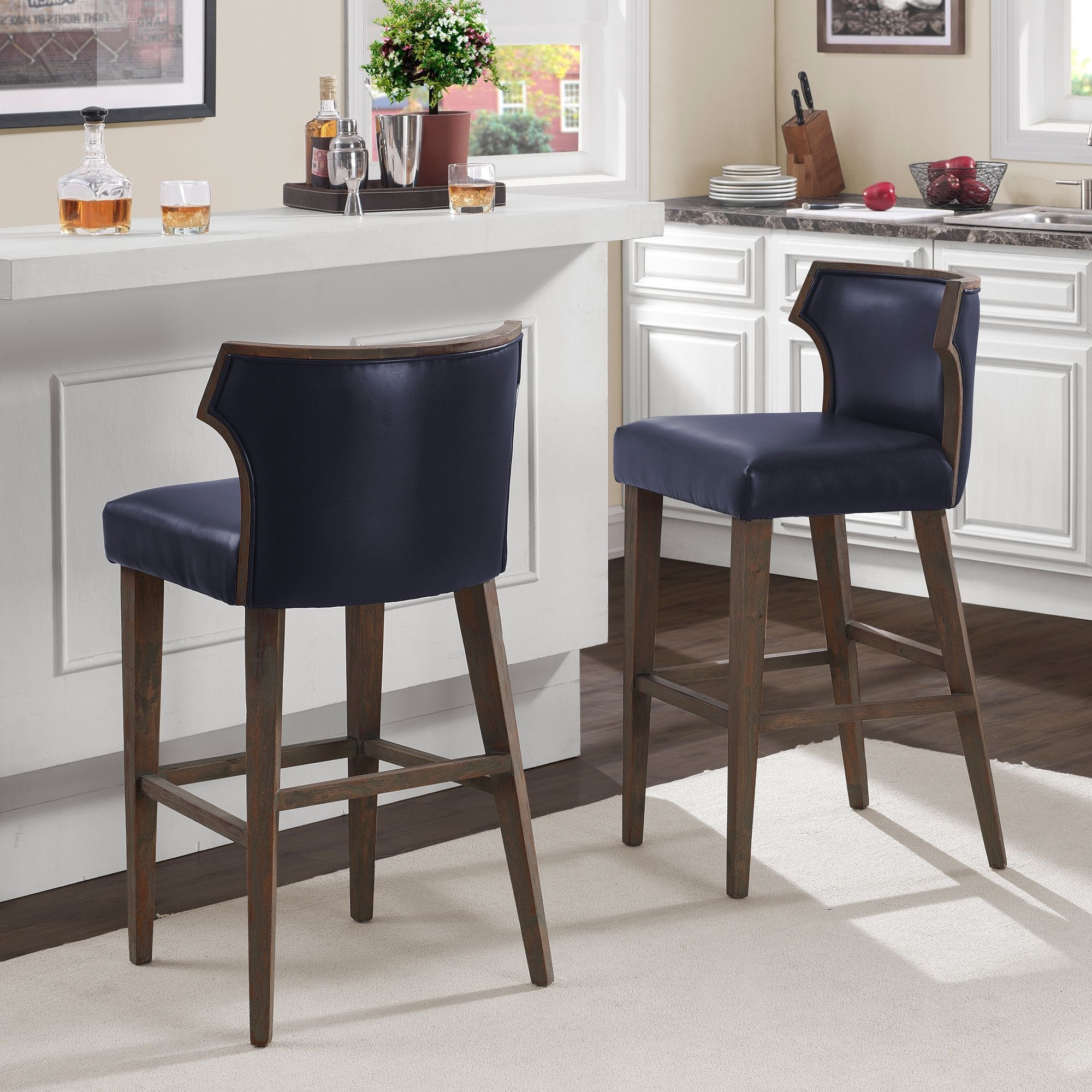Most Recently Released Marvin Rustic Natural 60 Inch Tv Stands Pertaining To Marvin Navy Bonded Bar Stool, Blue (Bonded Leather) (View 13 of 20)