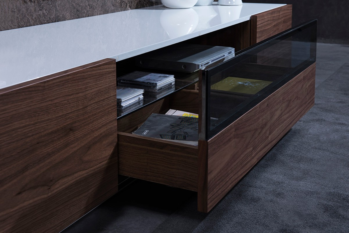 Most Recently Released Modrest Gillian Contemporary White & Walnut Tv Stand – L'angolo Pertaining To Modern Walnut Tv Stands (View 16 of 20)