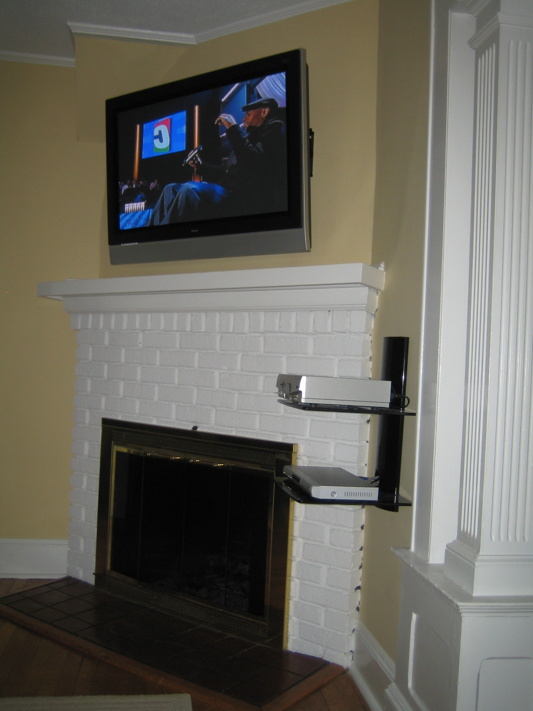 Most Recently Released Over Tv Shelves Inside Coventry, Ct – Tv Instlal Over Fireplace With All Wires Concealed (View 6 of 20)