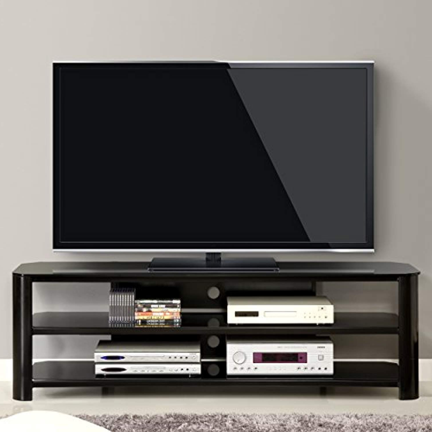 Most Recently Released Oxford 70 Inch Tv Stands With Innovex Tpt65G29 Oxford Fold N Snap 65€ Glass Tv Stand For Tvs Up (Gallery 8 of 20)