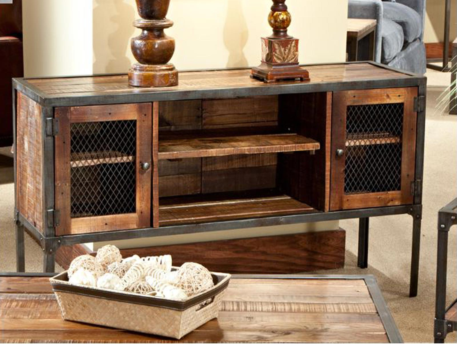 Most Recently Released Reclaimed Wood And Metal Tv Stands Throughout Wall Units: Extraordinary Wrought Iron Entertainment Center Rustic (View 6 of 20)