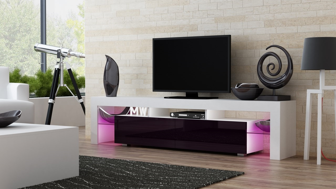 Most Recently Released Red Modern Tv Stands In Milano 200 – White – Red/purple Modern Tv Stand – Sesensigns (View 11 of 20)