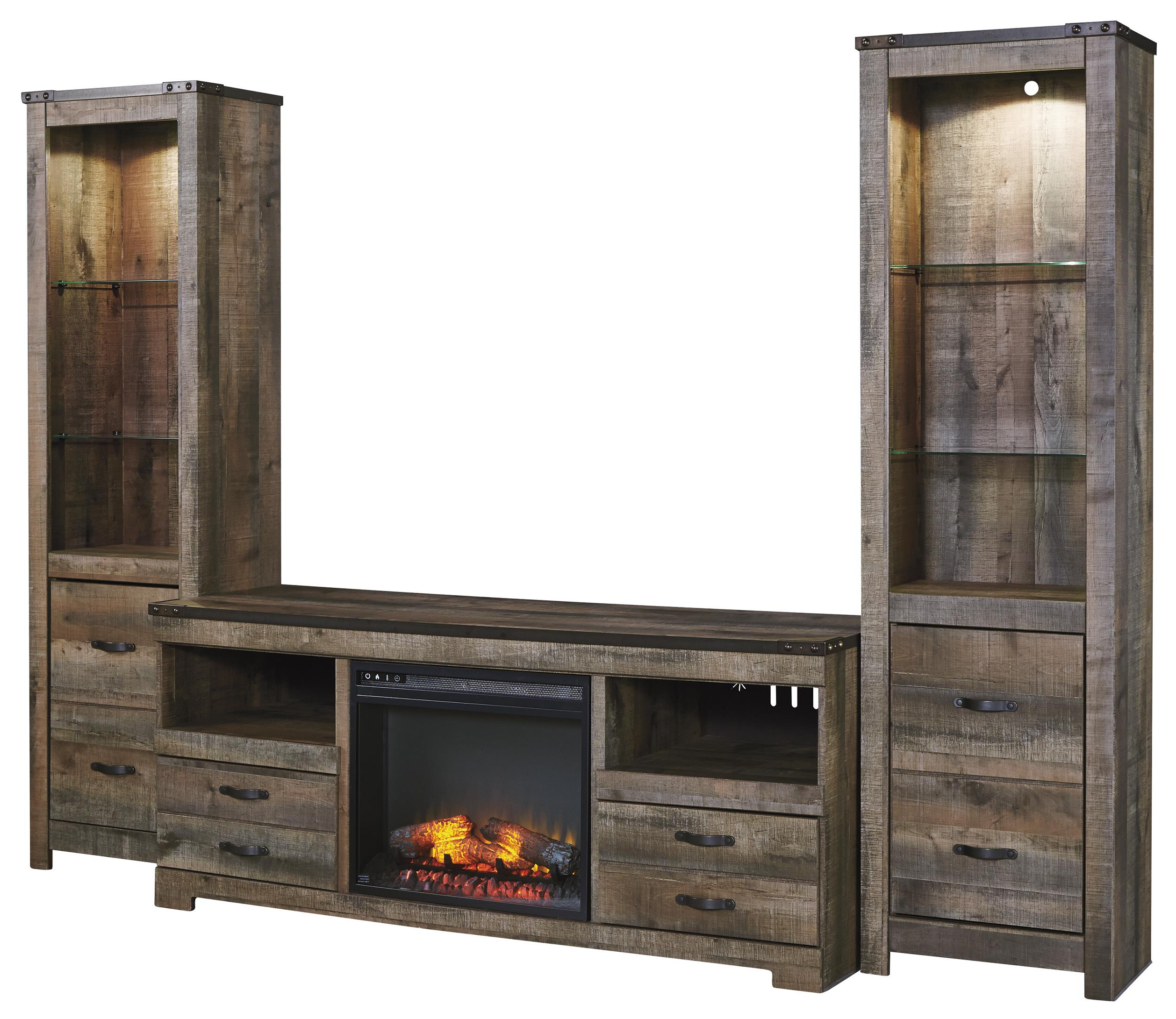 Most Recently Released Rustic Large Tv Stand W/ Fireplace Insert & 2 Tall Piers Within 24 Inch Tall Tv Stands (View 11 of 20)