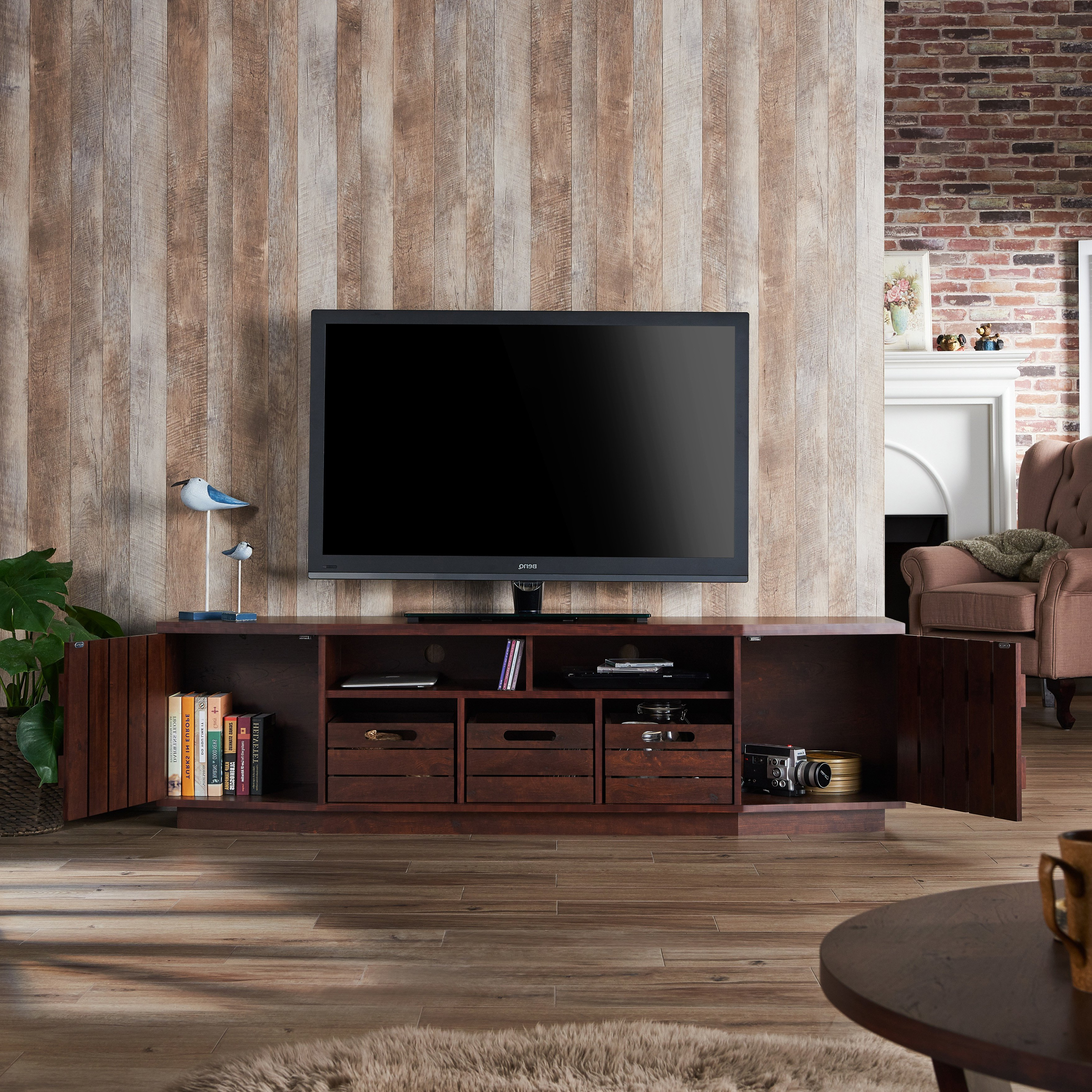 Most Recently Released Shop Furniture Of America Harla Rustic 70 Inch Tv Stand With Intended For Casey Grey 54 Inch Tv Stands (View 15 of 20)