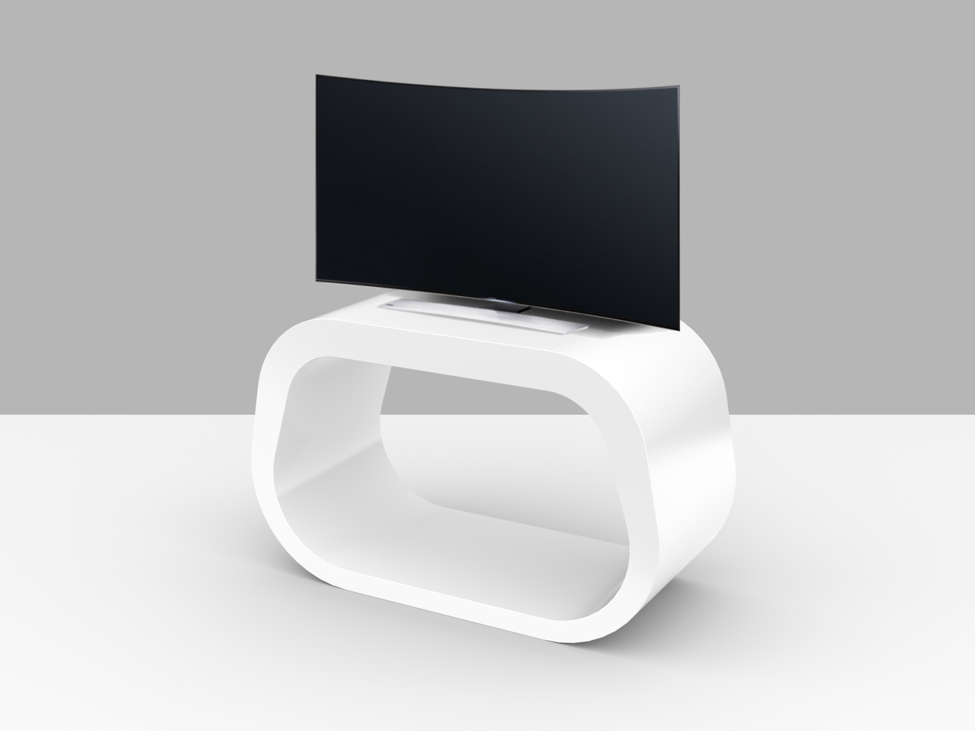 "Most Recently Released Small White Tv Stands Regarding The Squoval Tv Stand ""square Oval"" (View 12 of 20)"