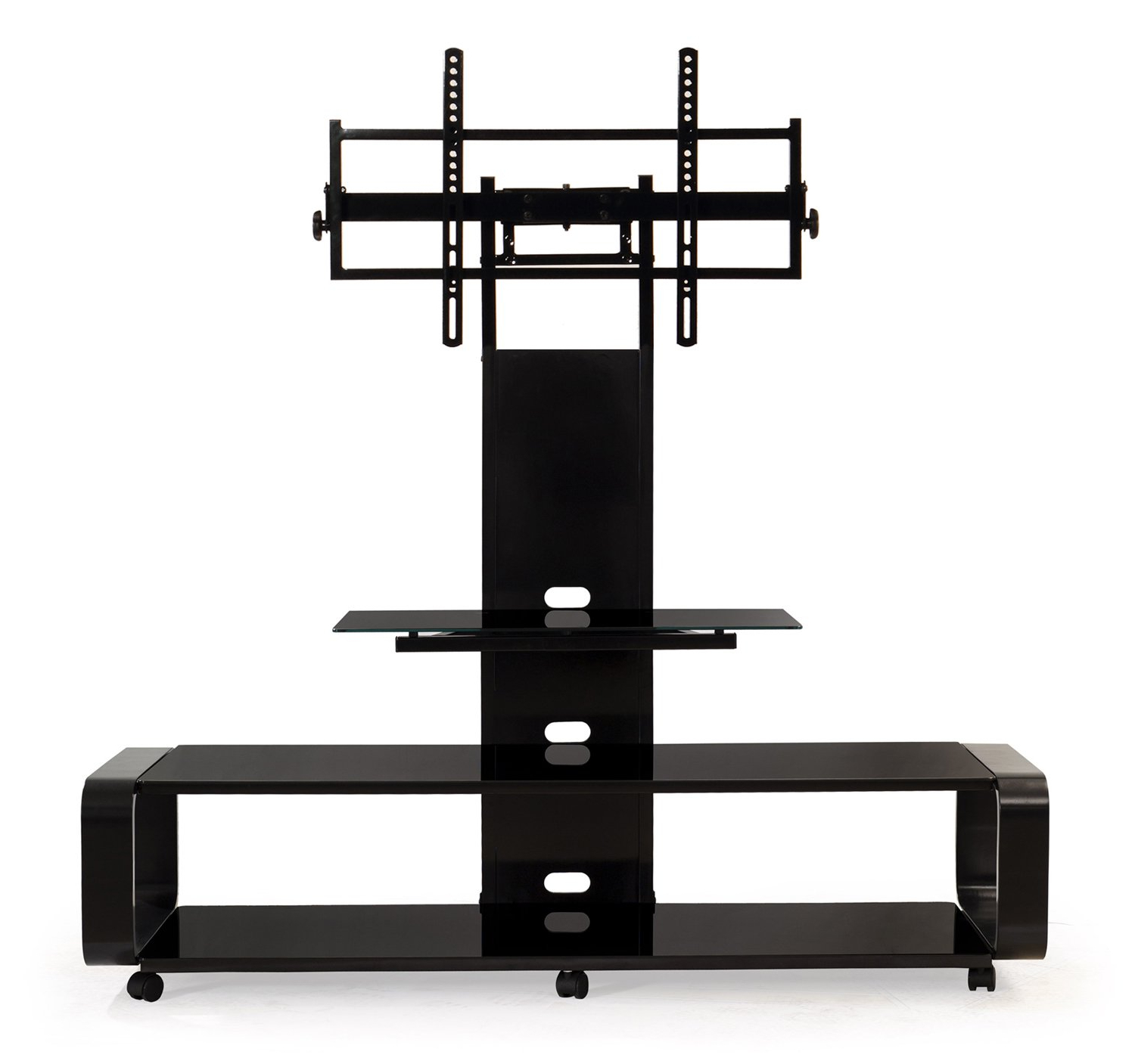 Most Recently Released Transdeco Curved Wood Tv Stand With Mount For 35 To 85 Inch Tv Regarding 61 Inch Tv Stands (View 17 of 20)