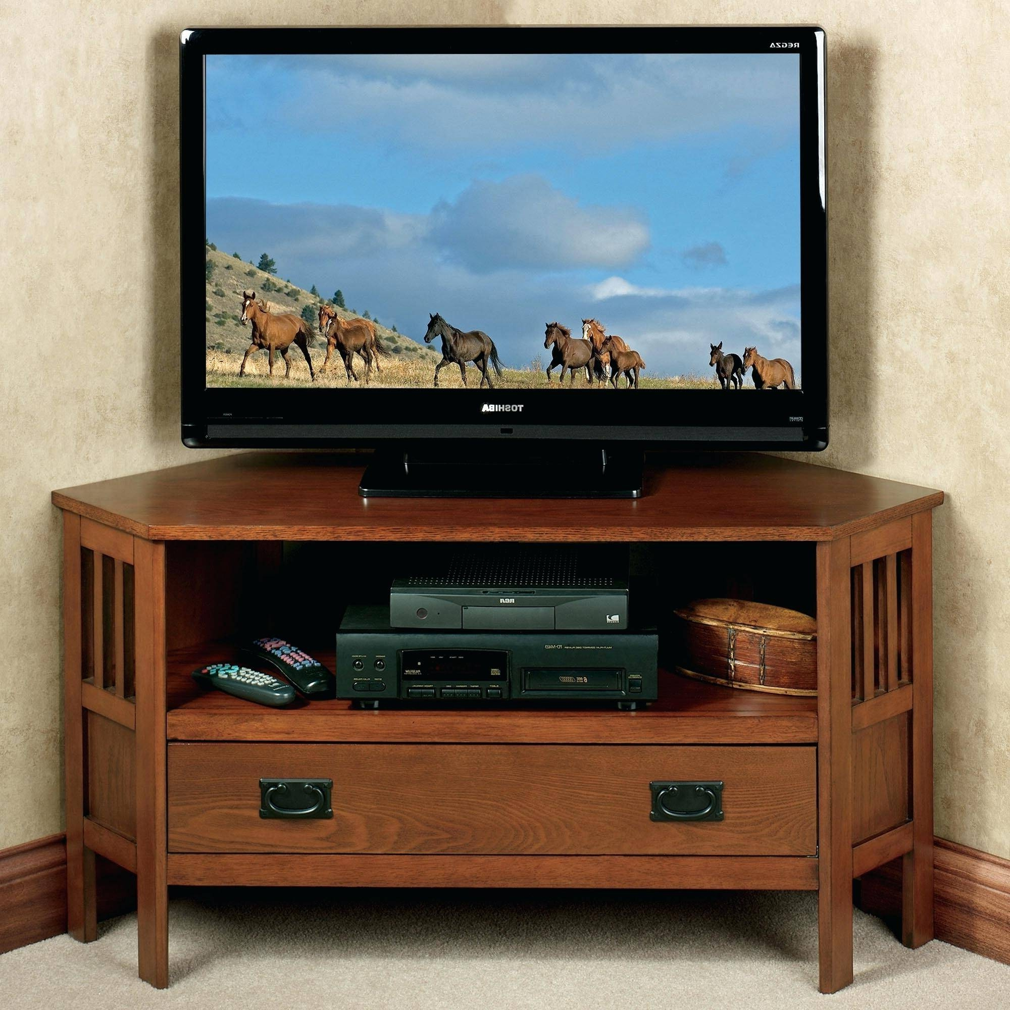 Featured Photo of Corner Oak Tv Stands For Flat Screen