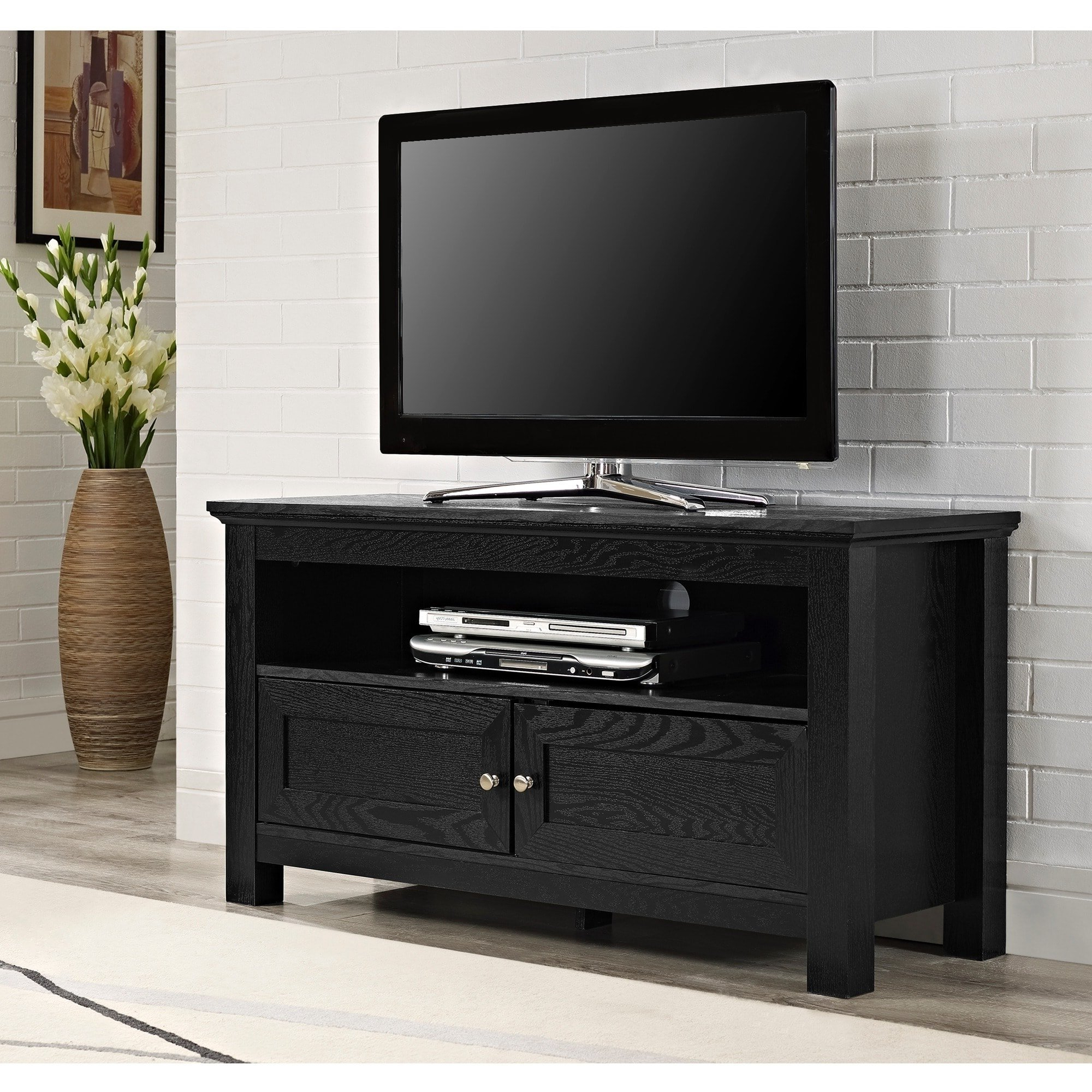 "Most Recently Released Tv Stands 38 Inches Wide Within Shop 44"" Tv Stand Console – Black – 44 X 16 X 23h – Free Shipping (View 10 of 20)"