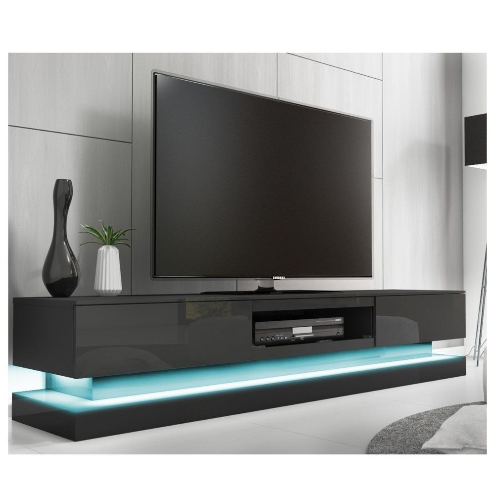 Most Recently Released Tv Stands With Led Lights Inside Black High Gloss Television Stand Tv Furniture Shelves Unit Cabinet (View 11 of 20)