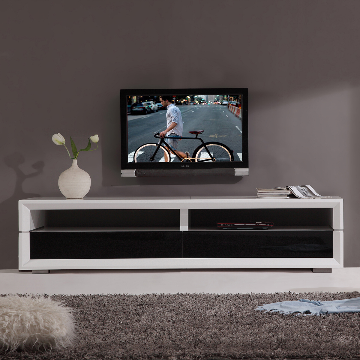 Most Recently Released Tv Television Stands 71 & Wider Within Noah Rustic White 66 Inch Tv Stands (View 9 of 20)