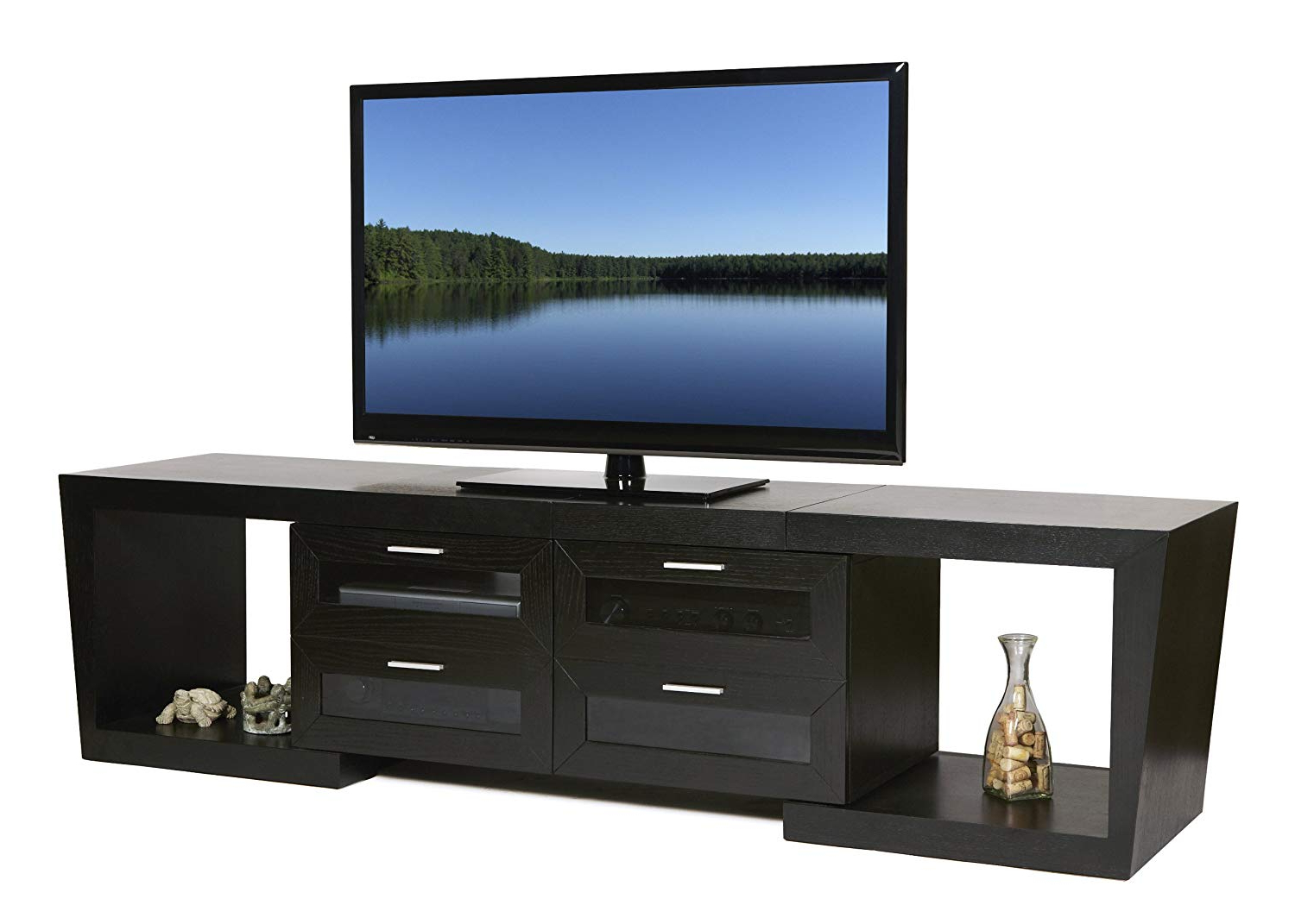 Most Recently Released Valencia 70 Inch Tv Stands Throughout Amazon: Plateau Valencia 5187 B Wood Expandable Tv Stand, 51 (Gallery 14 of 20)