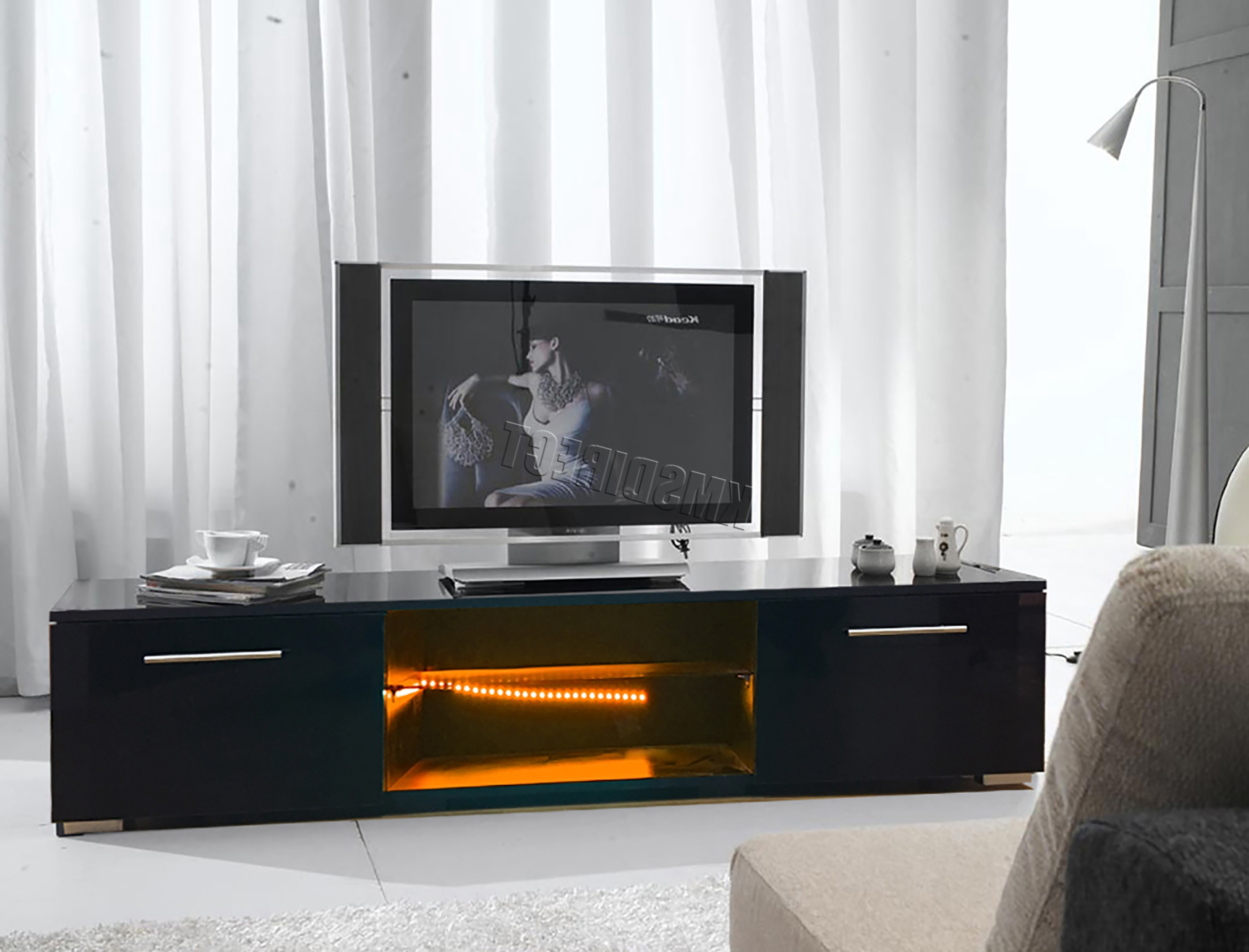 Most Recently Released Westwood Modern Led Tv Unit Stand Cabinet – High Gloss Doors Matte With High Gloss Tv Cabinets (View 11 of 20)