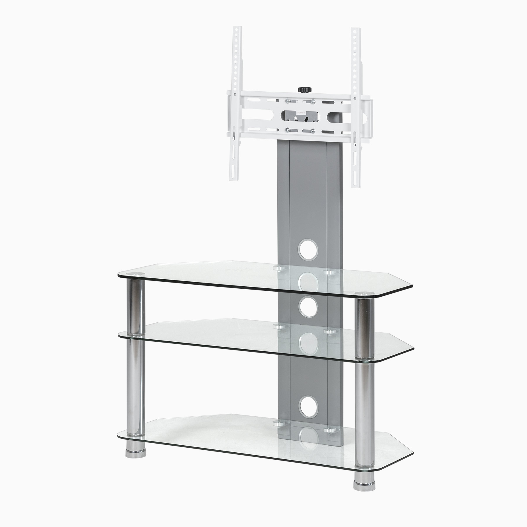 Most Recently Released White Cantilever Tv Stands Throughout Clear Glass Cantilever Stand For Up To 50 Inch Tv (Gallery 20 of 20)