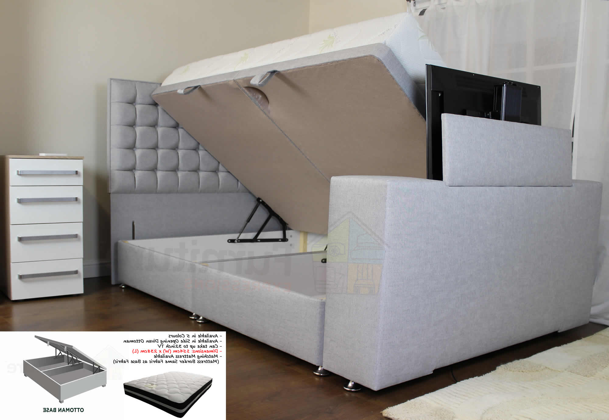 Most Up To Date 32 Inch Tv Beds For Sweet Dreams Image Classic Tv Bed 5Ft King Size Side Opening Ottoman (View 10 of 20)