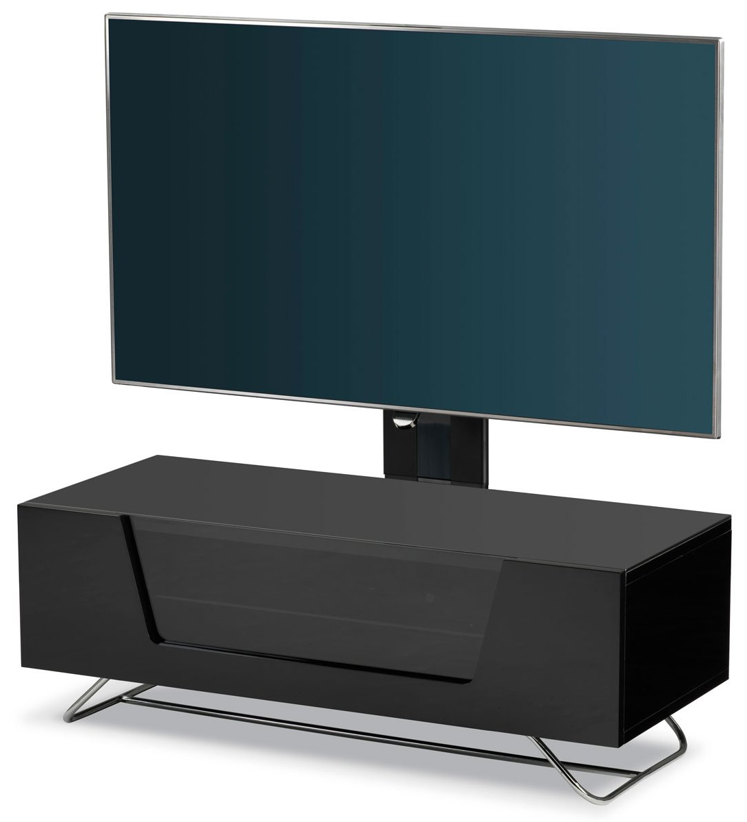 Most Up To Date Alphason Tv Cabinets Intended For Alphason Chromium Black Cantilever Tv Stand (View 17 of 20)