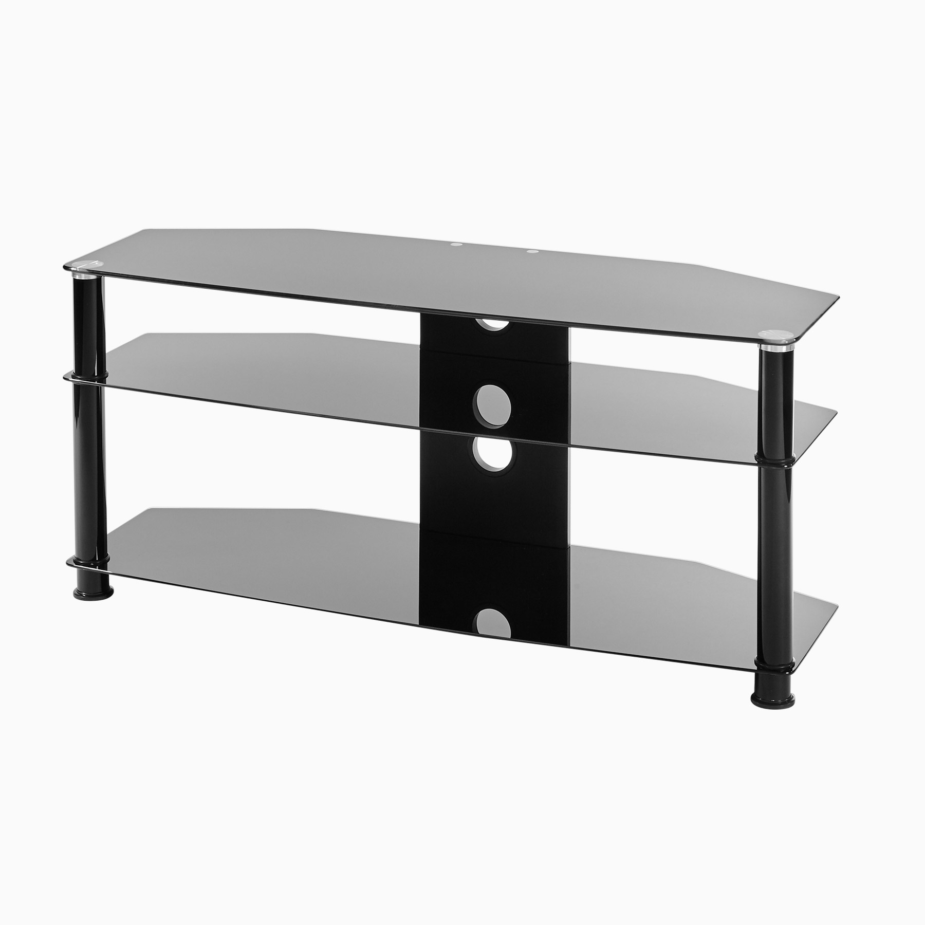 Most Up To Date Black Glass 3 Shelf Tv Corner Stand Up To 47 Inch Tv (Gallery 7 of 20)