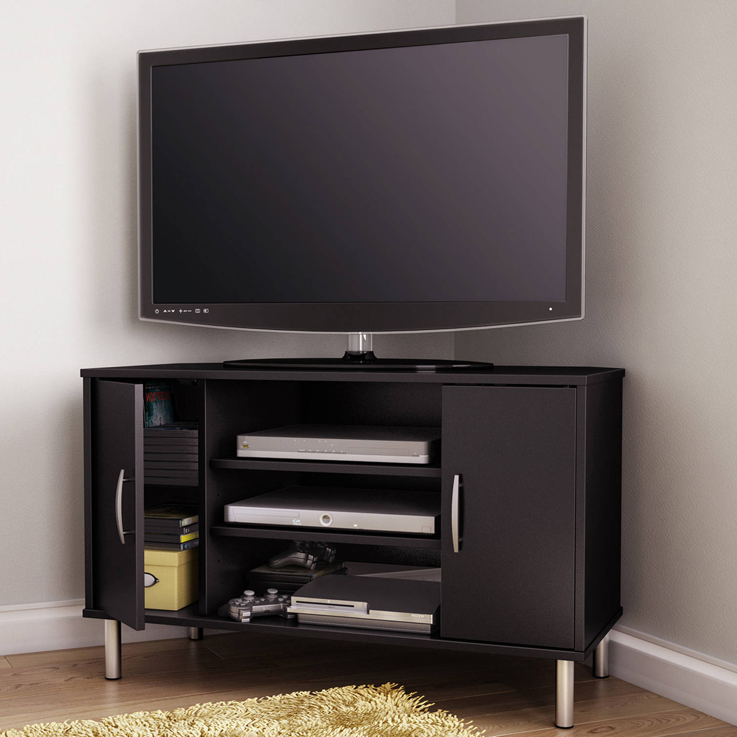 Most Up To Date Black Wood Corner Tv Stands Inside Tv Stands For 65 Inch Flat Screen Living Room Furniture Stand Solid (View 13 of 20)