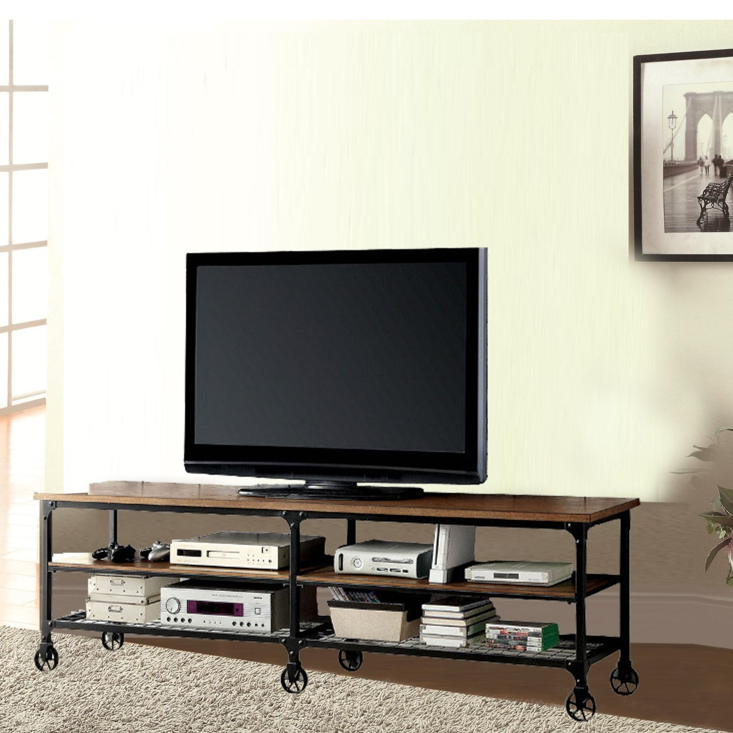 Most Up To Date Cast Iron Tv Stands Throughout Industrial Tv Stands You'll Love (View 15 of 20)