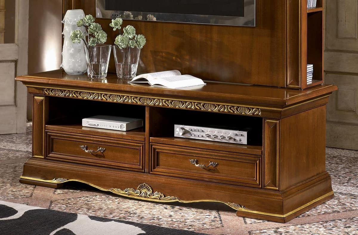 Most Up To Date Classic Tv Stand In Carved Wood, Gold Leaf Finish (View 17 of 20)