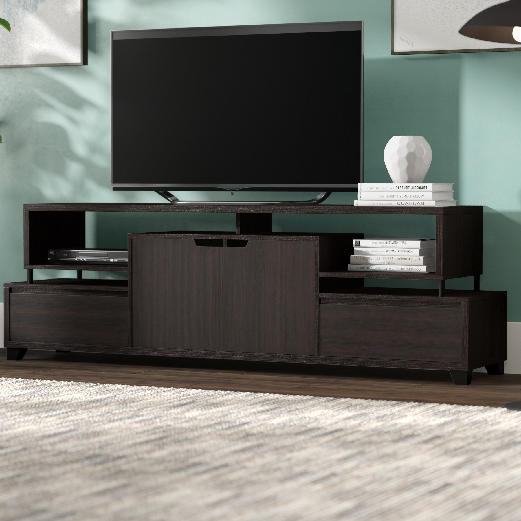 Most Up To Date Contemporary Tv Stands For Flat Screens Pertaining To Brayden Studio Pellerin Contemporary Tv Stand For Tvs Up To  (View 13 of 20)